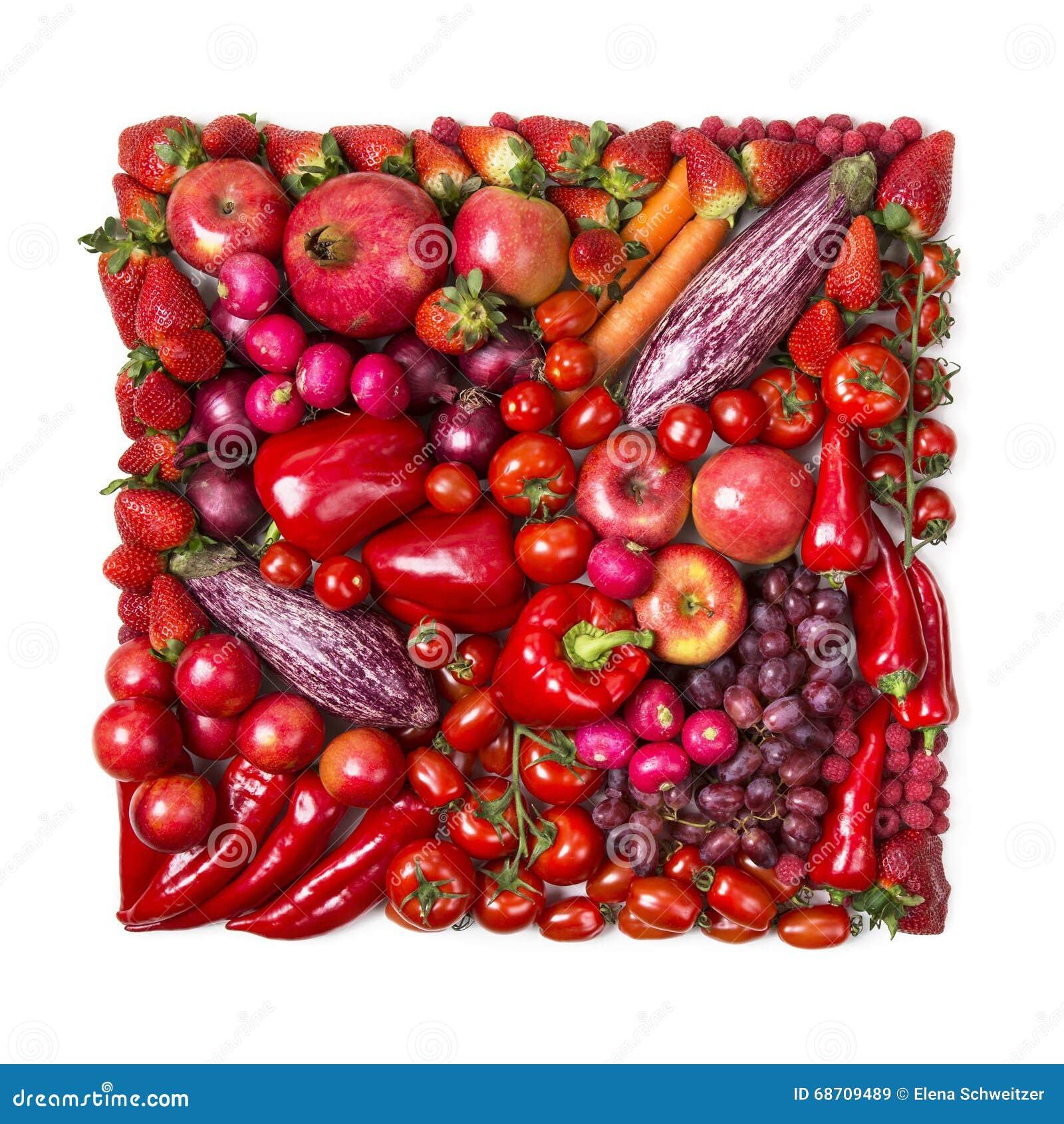 Τετράγωνο των κόκκινων φρούτων και λαχανικών