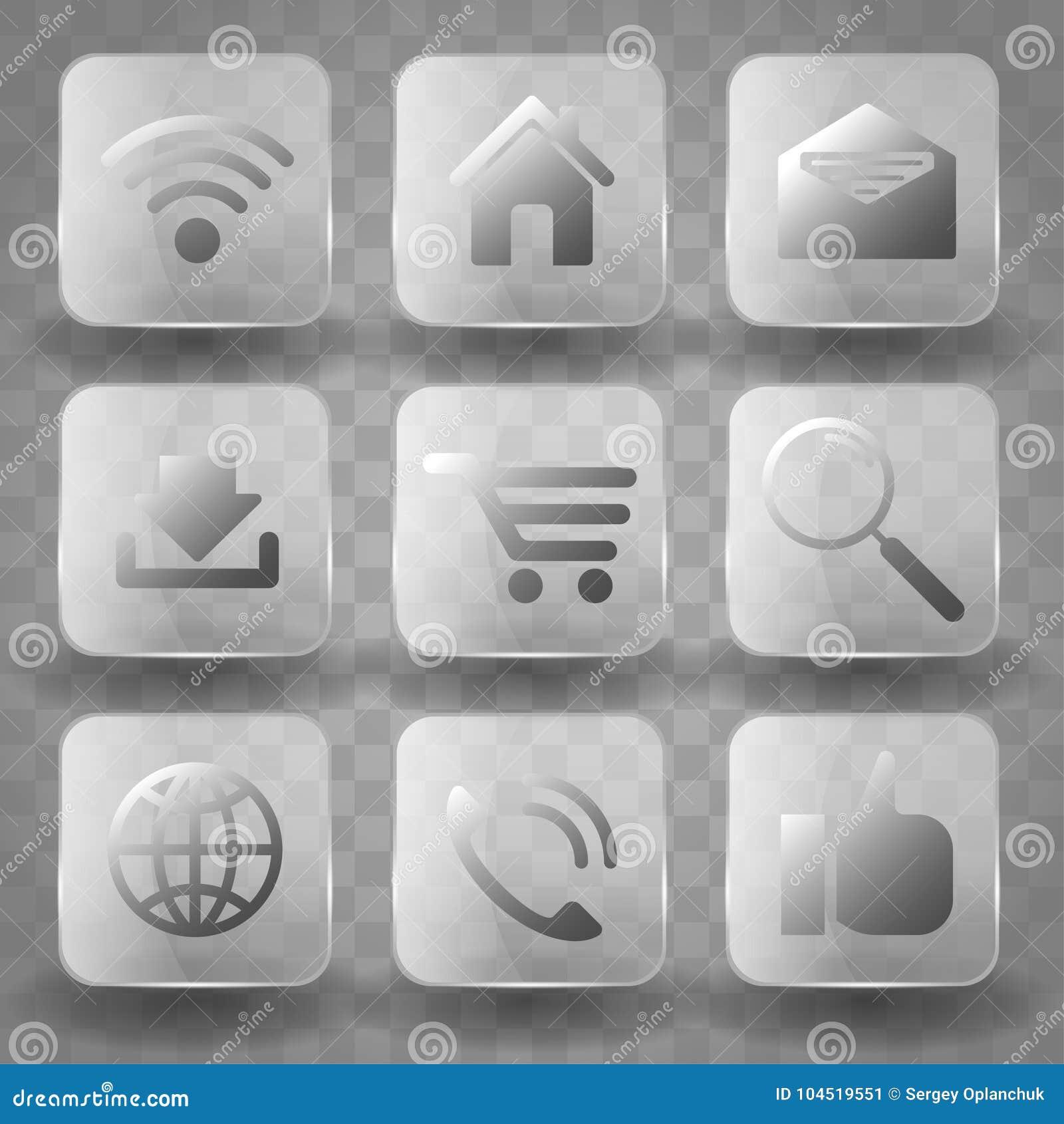 Τετραγωνικά κουμπιά γυαλιού εφαρμογής διαφανή ή app εμβλήματα εικονιδίων με την επίδραση αντανάκλασης ερμηνείας Εικονίδια για την