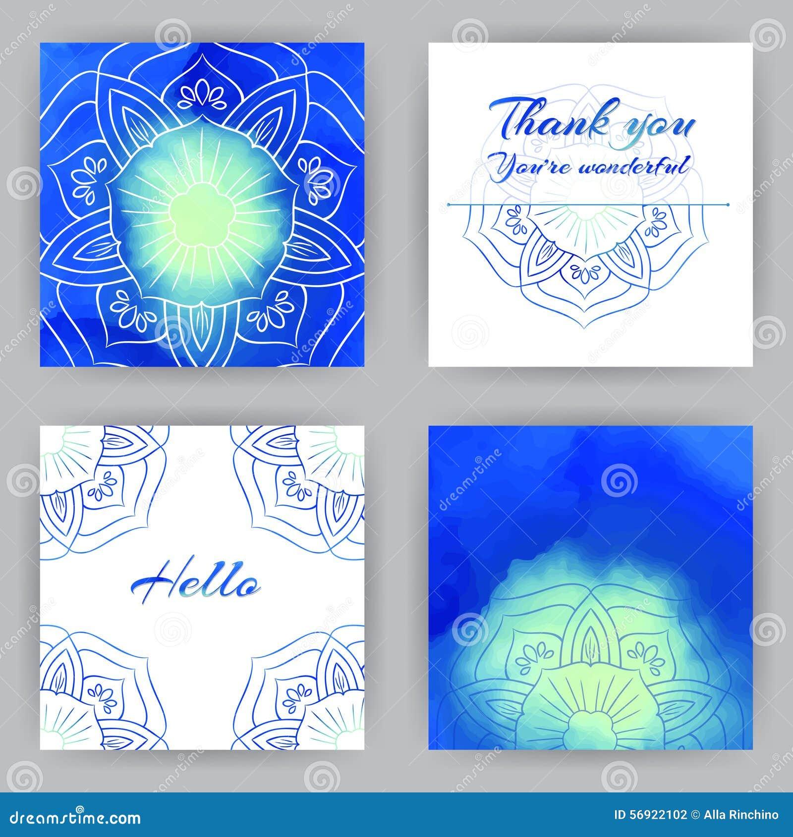 Τετραγωνικές κάρτες με το μπλε Lotus