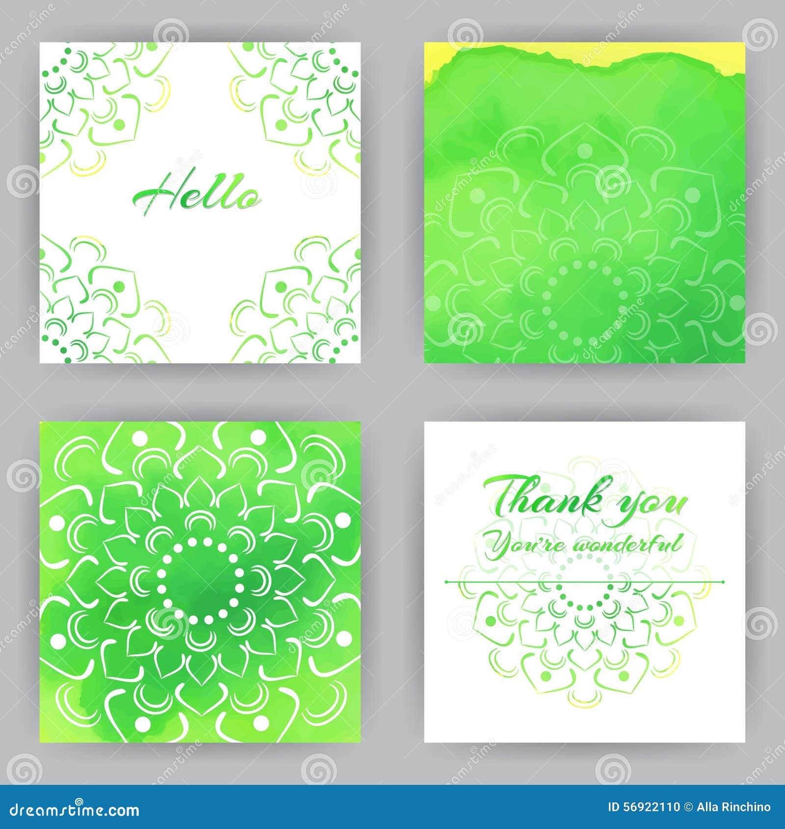 Τετραγωνικές κάρτες με το πράσινο Lotus