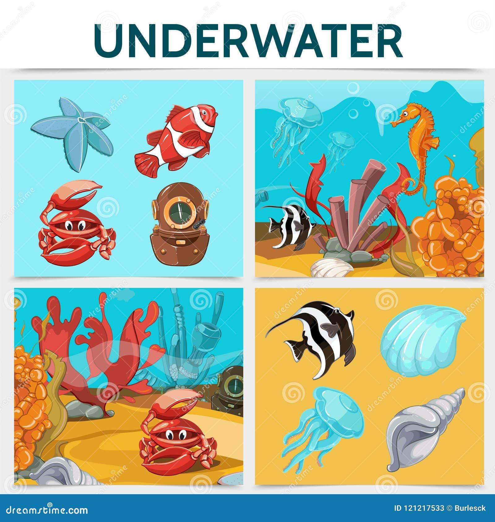 Τετραγωνική έννοια ζωής κινούμενων σχεδίων υποβρύχια