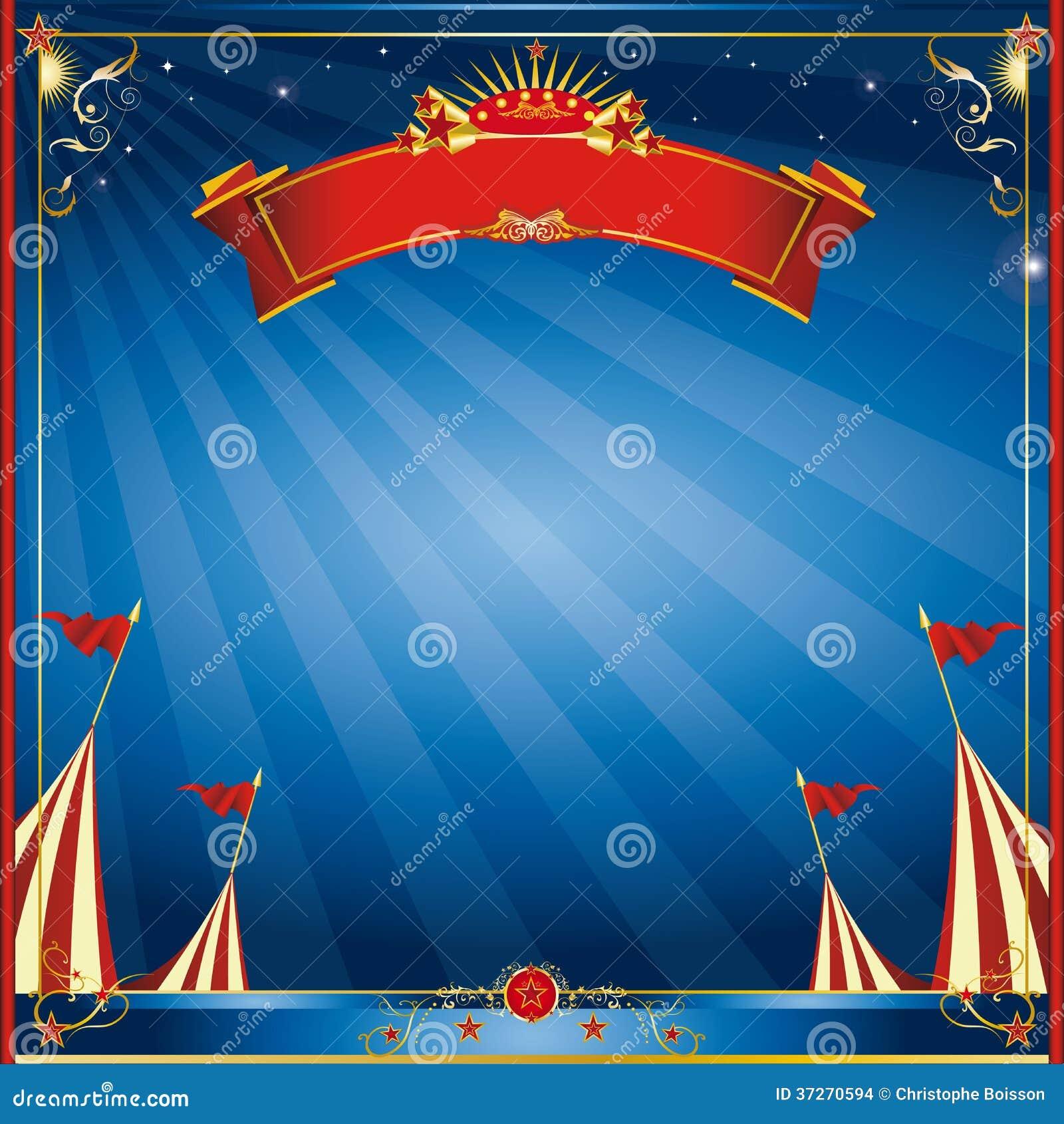 Τετραγωνική μπλε πρόσκληση τσίρκων νύχτας