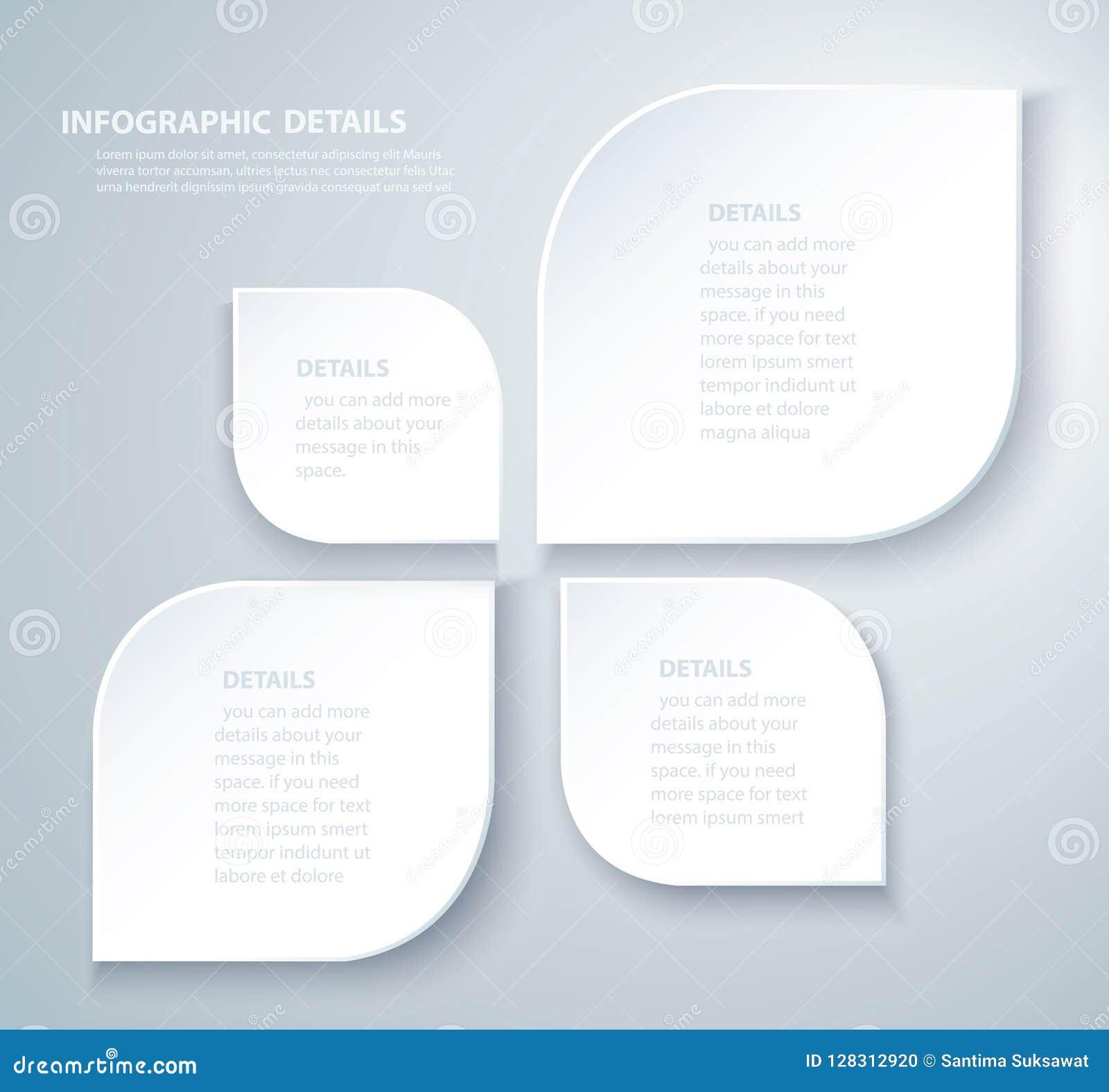 Τετραγωνικό γραφικό διανυσματικό πρότυπο πληροφοριών με 4 επιλογές Μπορέστε να χρησιμοποιηθείτε για τον Ιστό, διάγραμμα, γραφική
