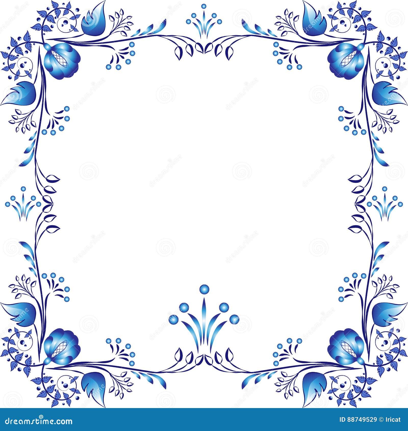 Τετραγωνικό μπλε floral πλαίσιο Στοιχεία προσδιορισμού βασισμένα στην κινεζική ή ρωσική ζωγραφική πορσελάνης Στοιχείο που απομονώ
