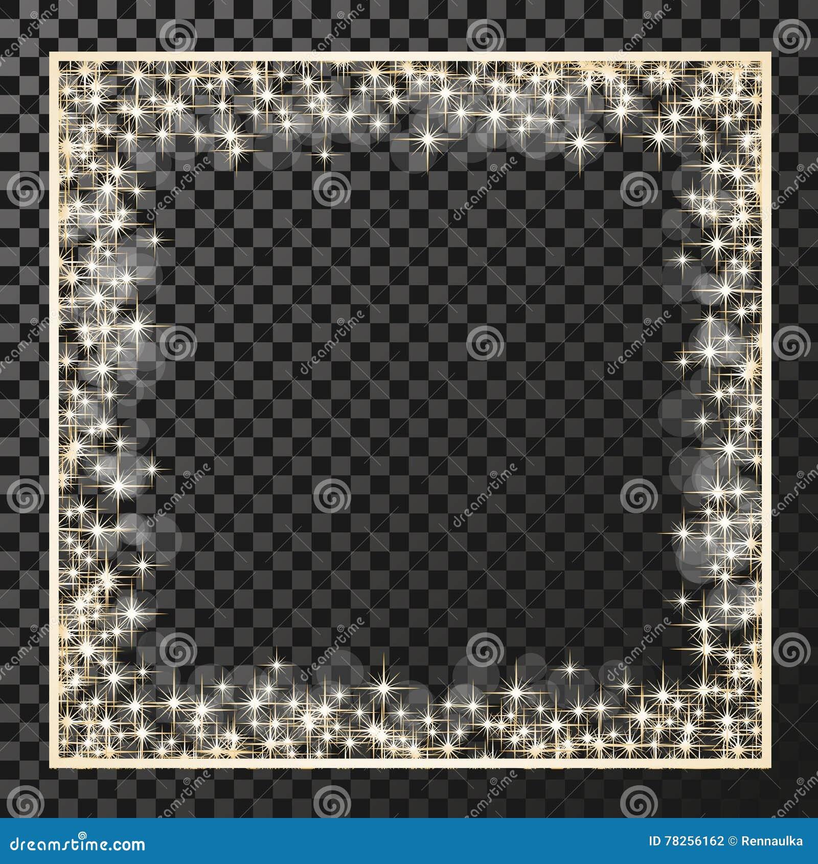 Τετραγωνικό πλαίσιο με τα χρυσά αστέρια στο υπόβαθρο διαφάνειας, χρυσά σύμβολα σπινθηρισμάτων - το αστέρι ακτινοβολεί, αστρική φλ