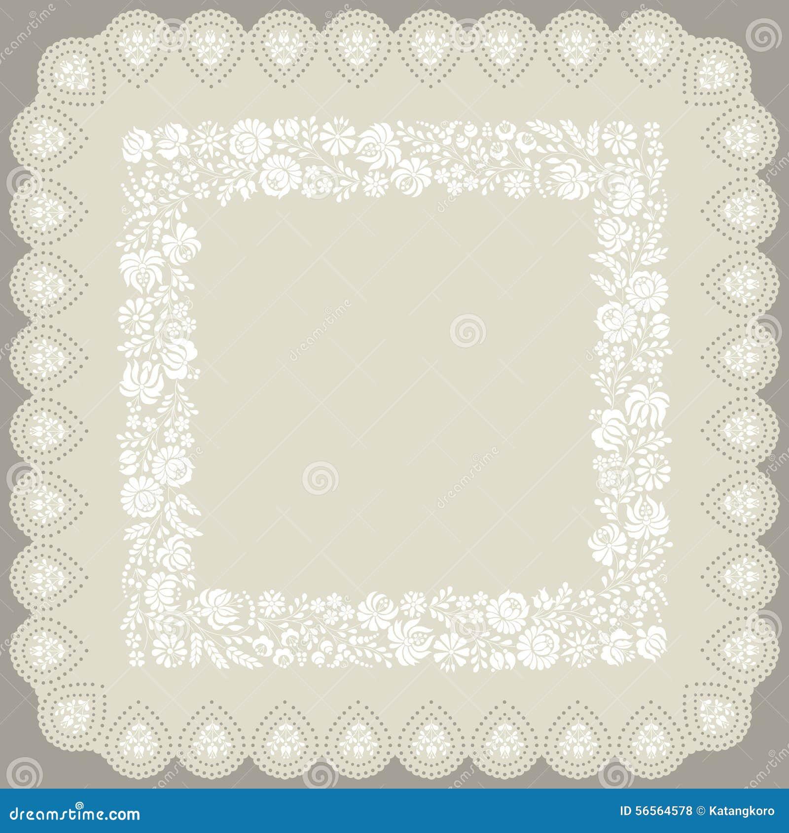 Download Τετραγωνικό Doily με την παραδοσιακή ουγγρική άσπρη κεντητική Διανυσματική απεικόνιση - εικονογραφία από διακοσμητικός, εθνικός: 56564578