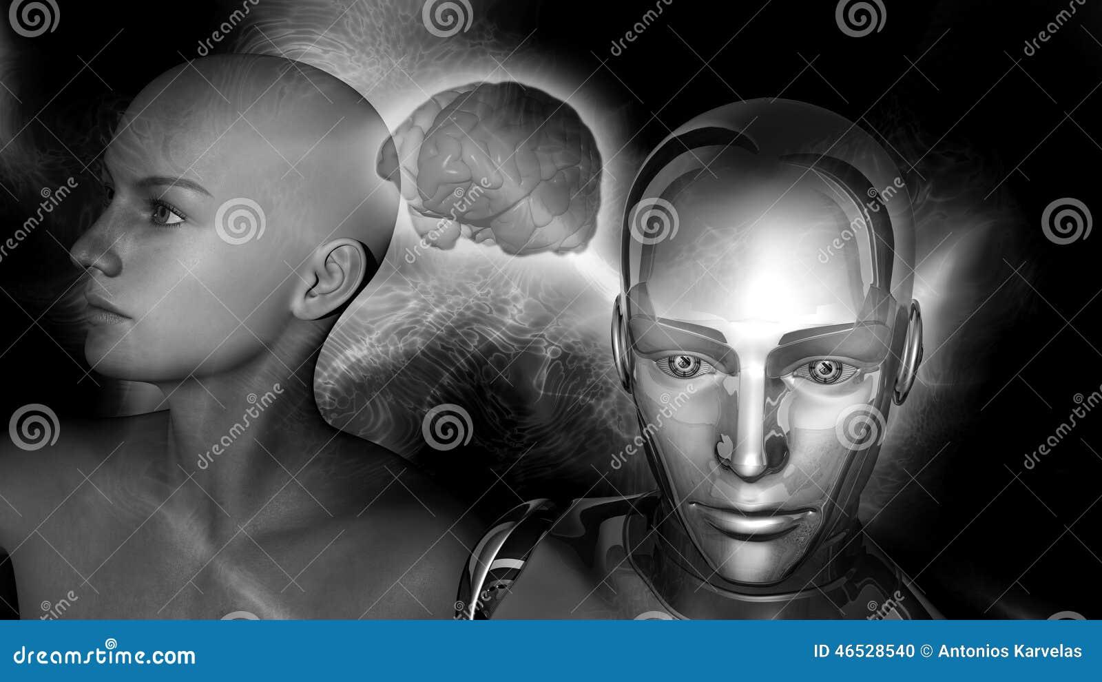 Τεχνητή νοημοσύνη - γυναίκα ρομπότ που συνδέεται με έναν θηλυκό εγκέφαλο
