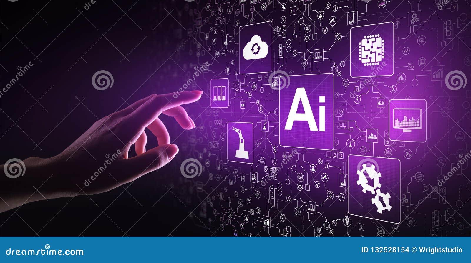 Τεχνητή νοημοσύνη AI, μαθαίνοντας, μεγάλες στοιχείων ανάλυση μηχανών και τεχνολογία αυτοματοποίησης στην επιχείρηση