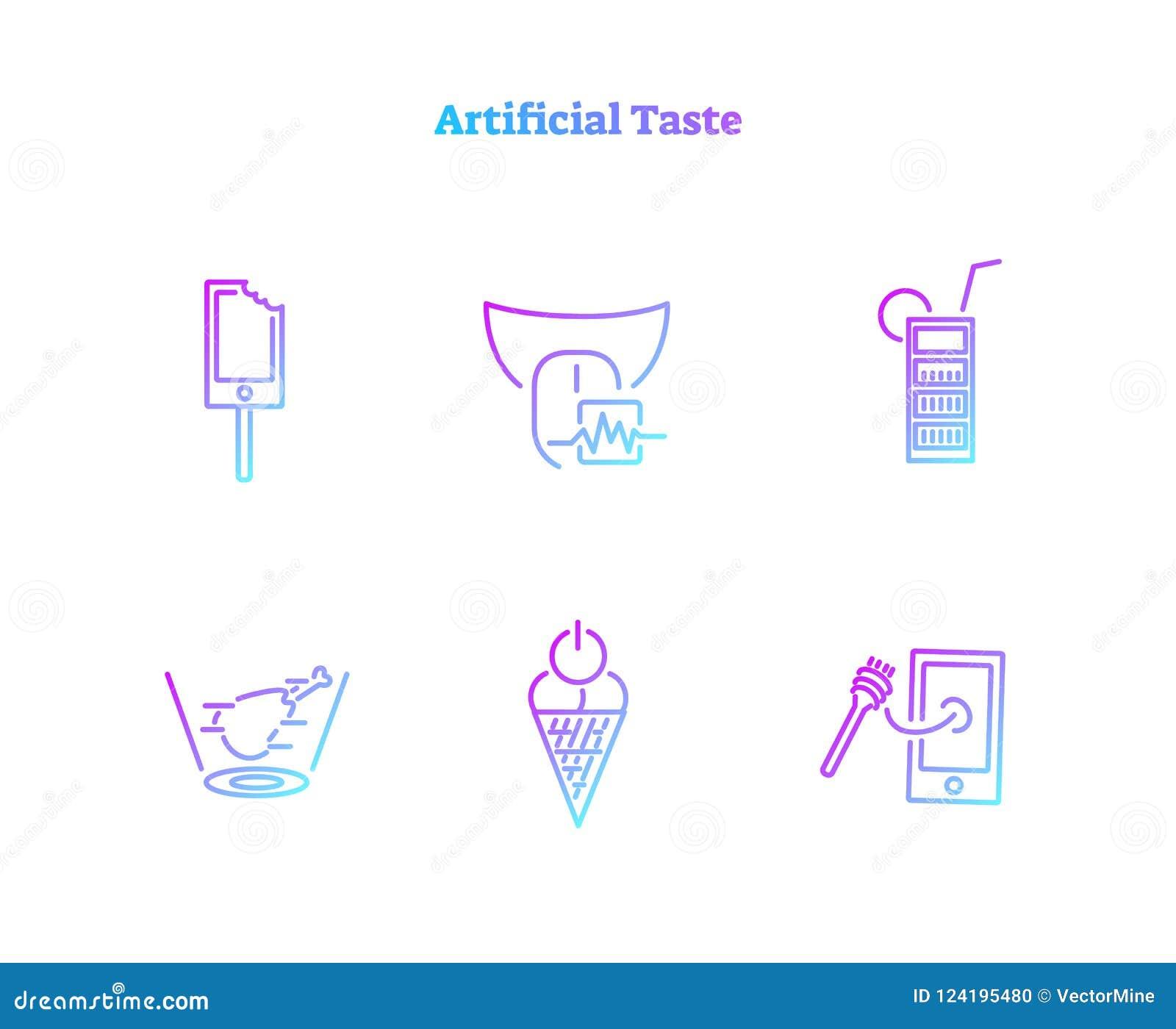 Τεχνητή συλλογή εικονιδίων έννοιας γούστου Ουσιαστικά παραγμένο ψηφιακό σύνολο συμβόλων τεχνολογίας τροφίμων βιοχημικό