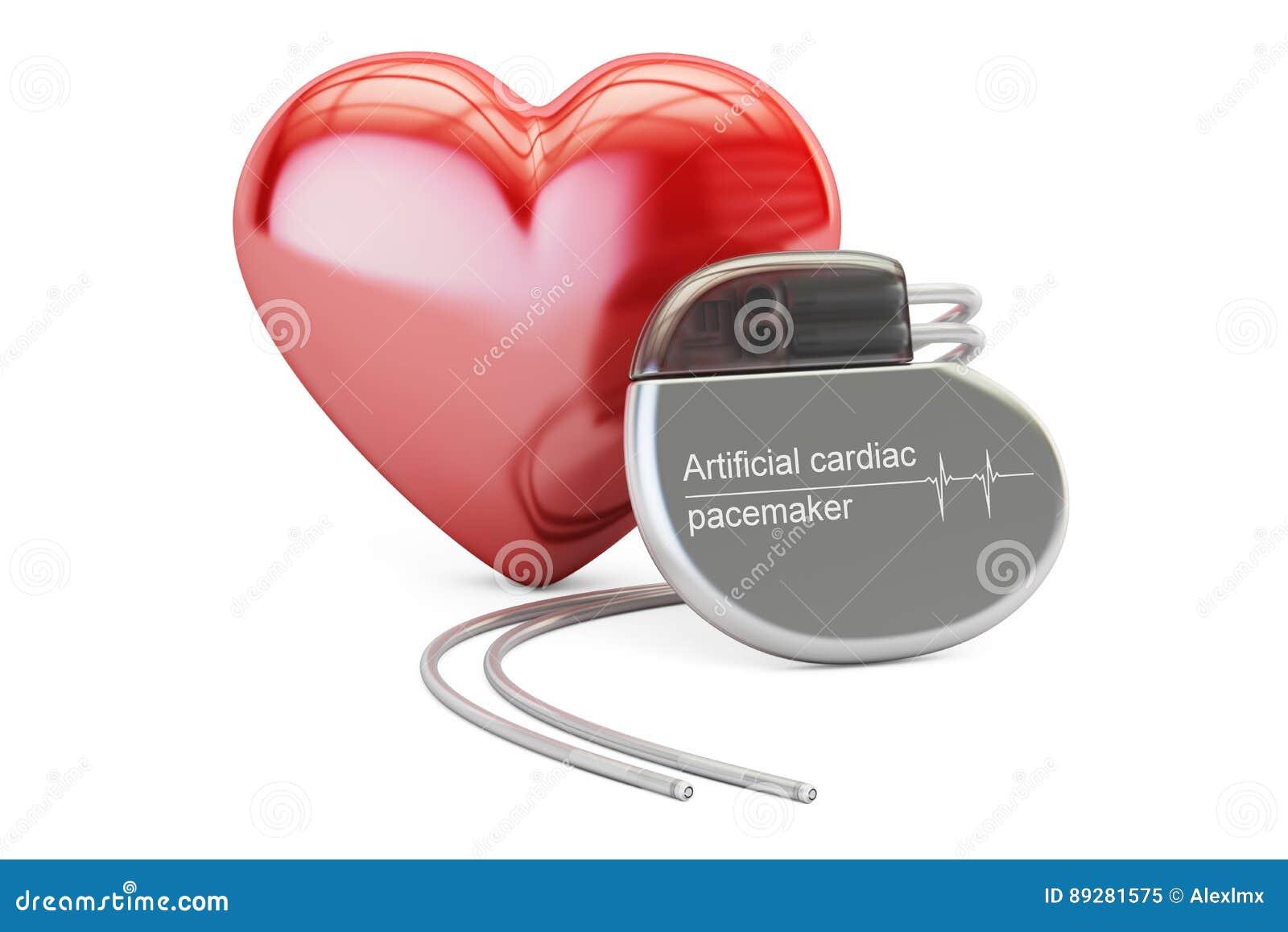 Τεχνητός καρδιακός βηματοδότης με την κόκκινη καρδιά, τρισδιάστατη απόδοση