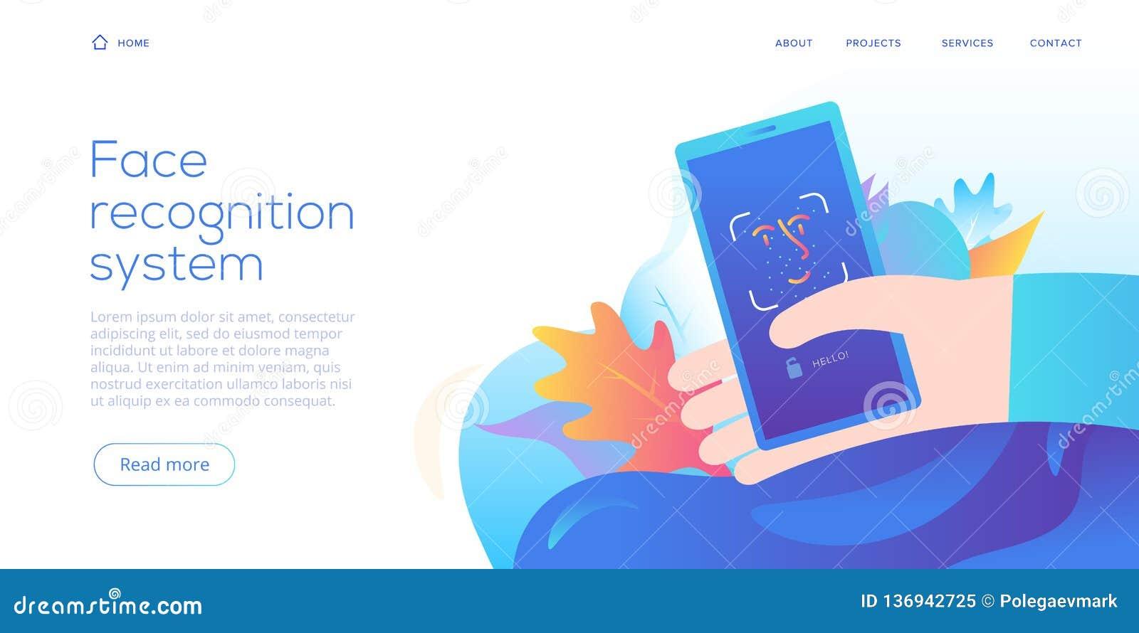 Τεχνολογία αναγνώρισης προσώπου στη δημιουργική επίπεδη διανυσματική απεικόνιση Έννοια συστημάτων ασφαλείας ταυτότητας Smartphone