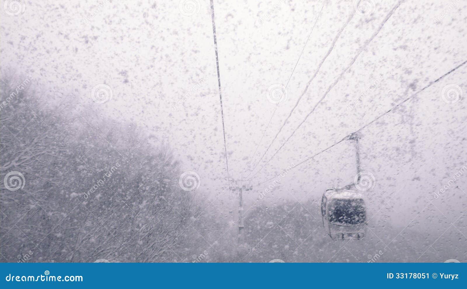 Τελεφερίκ στις χιονοπτώσεις