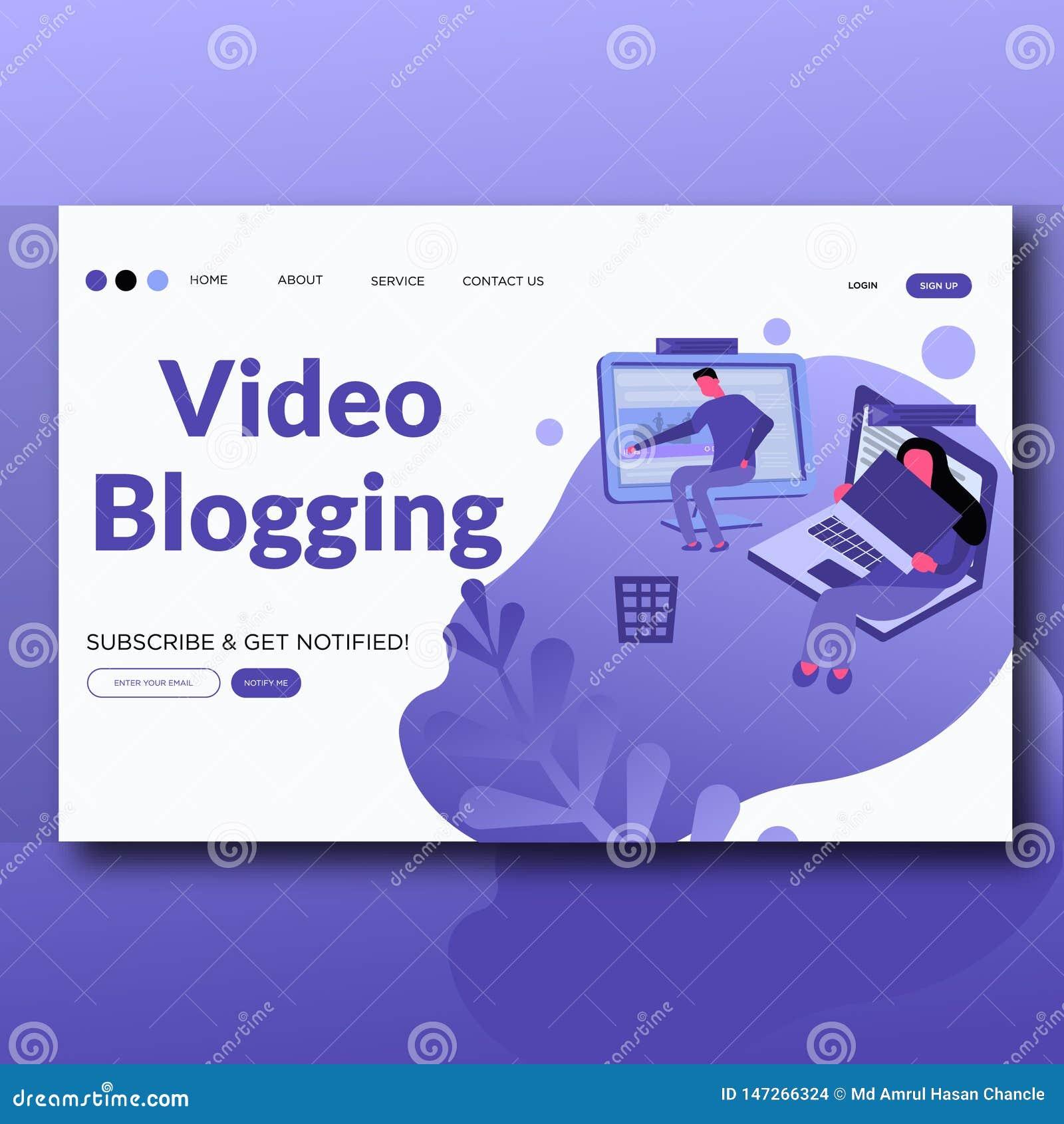 Τηλεοπτική Blogging- επίπεδη προσγειωμένος σελίδα απεικόνισης ύφους σύγχρονη διανυσματική