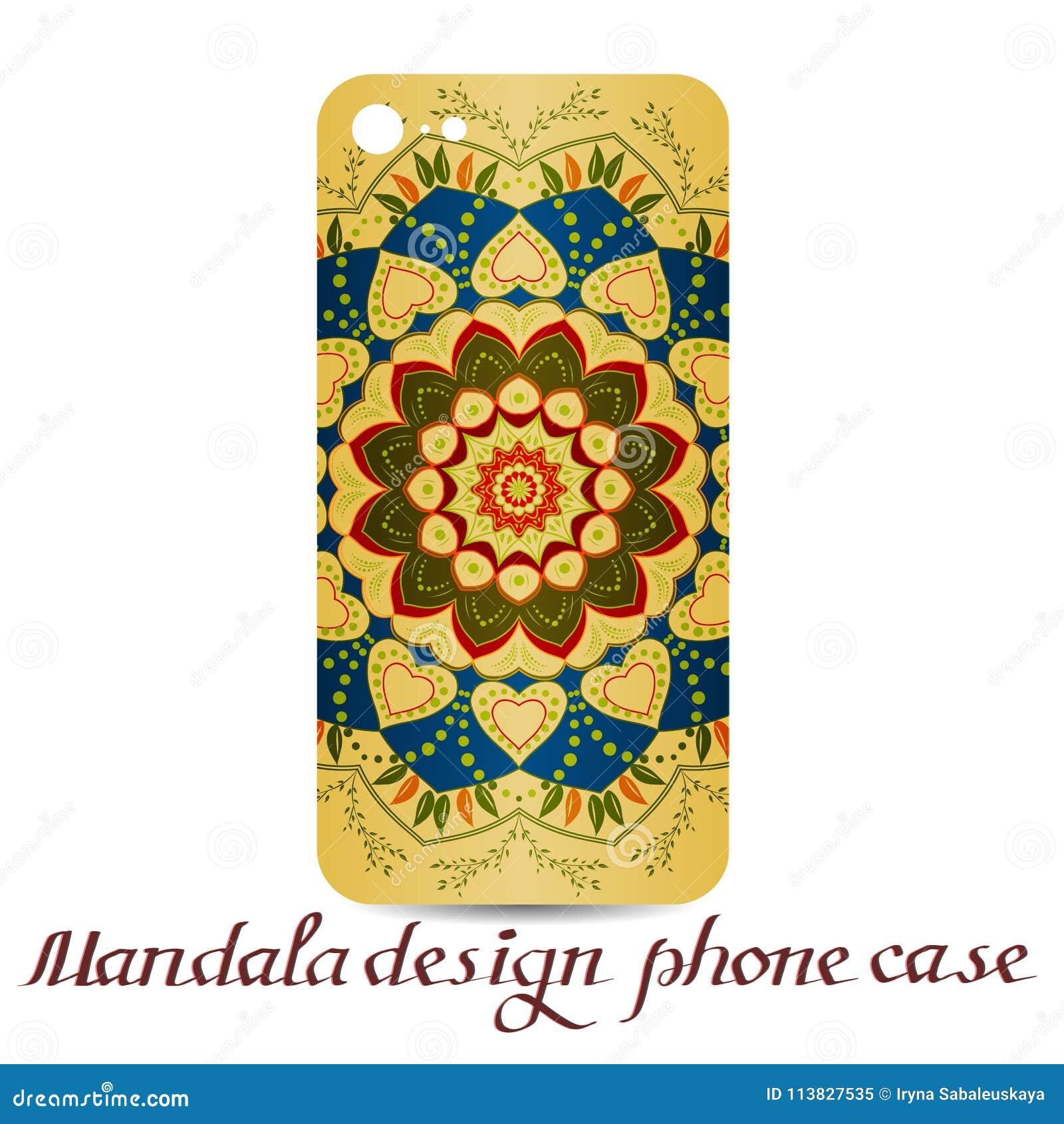 Τηλεφωνική περίπτωση σχεδίου Mandala διακοσμητικά στοιχεία
