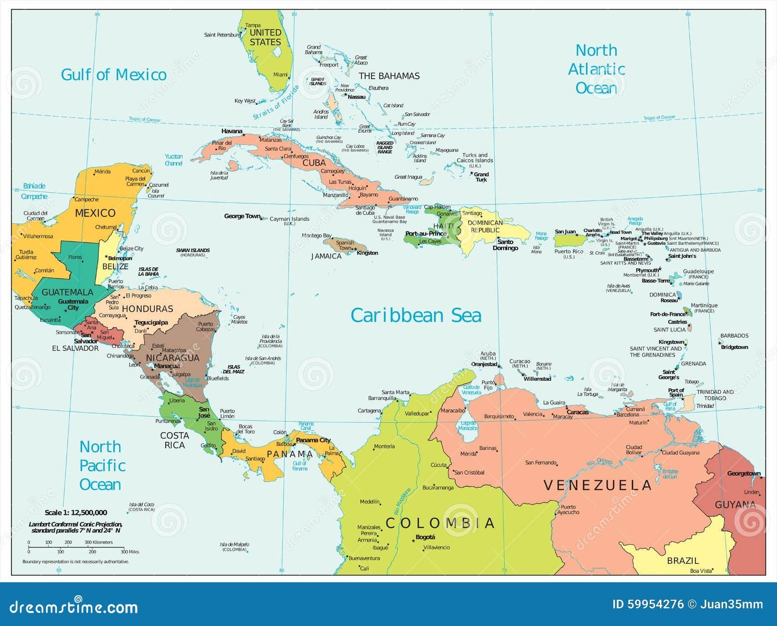 Της Κεντρικής Αμερικής καραϊβικός χάρτης τμημάτων περιοχών πολιτικός