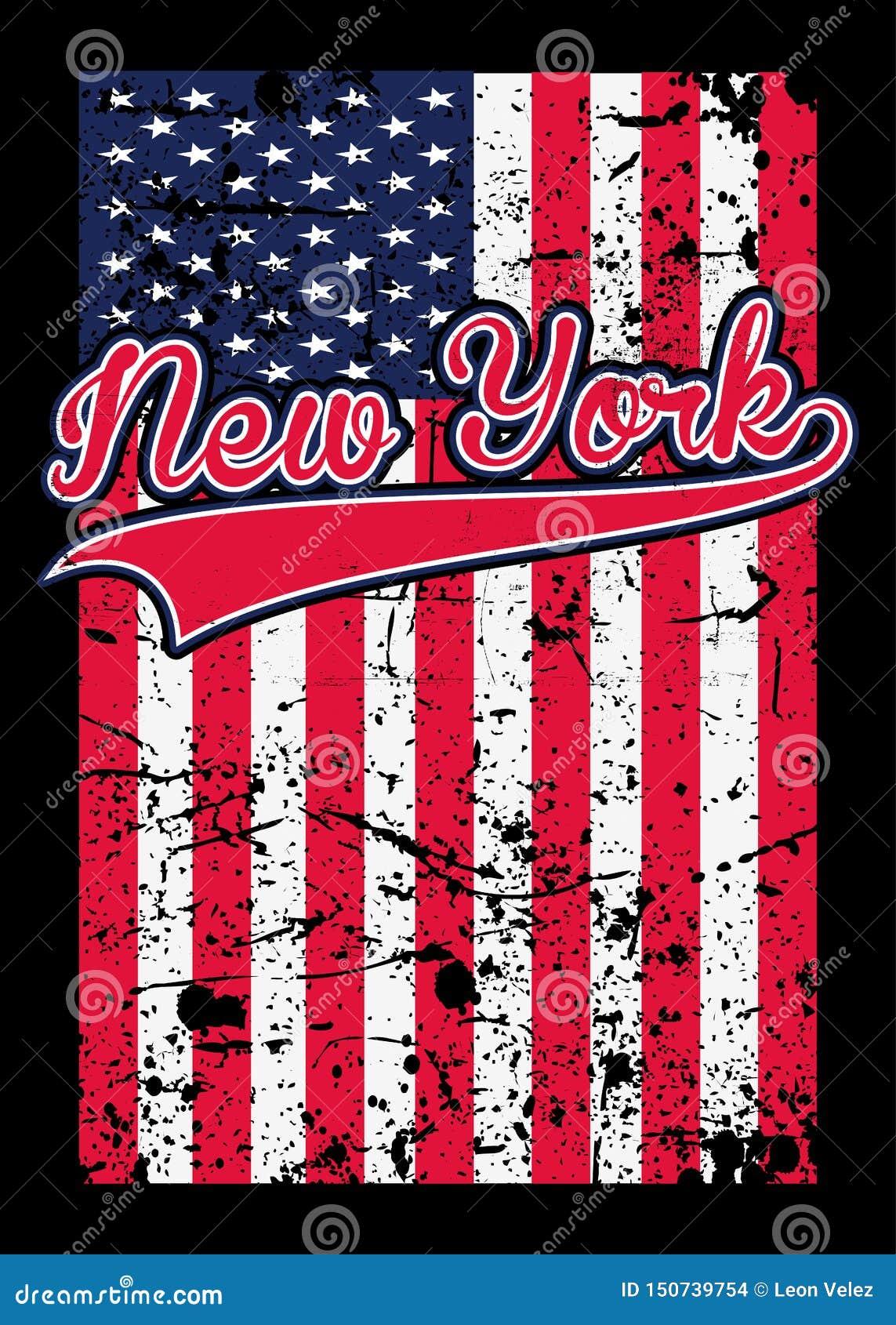 Της Νέας Υόρκης στενοχωρημένο αμερικανική σημαία διάνυσμα γραμμάτων Τ αφισών ζωηρόχρωμο γραφικό