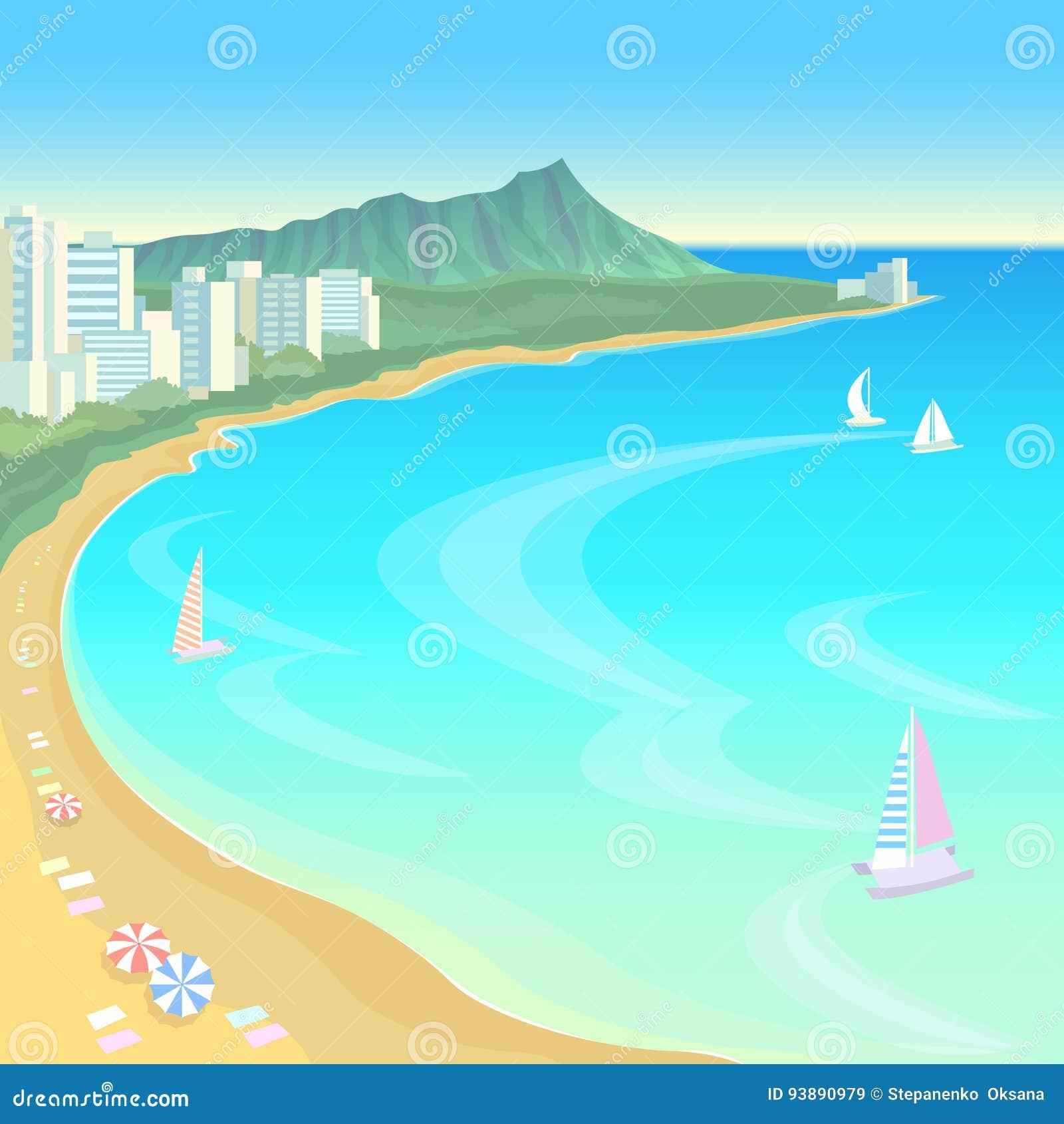 Της Χαβάης ωκεάνιο κόλπων μπλε υπόβαθρο διακοπών θερινού ταξιδιού ουρανού νερού ηλιόλουστο Καυτή σκηνή ημέρας ομπρελών παραλιών ά