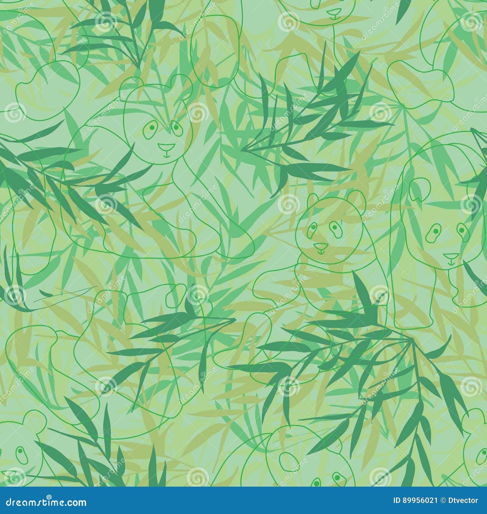 Της Panda άνευ ραφής σχέδιο χρώματος γραμμών πράσινο