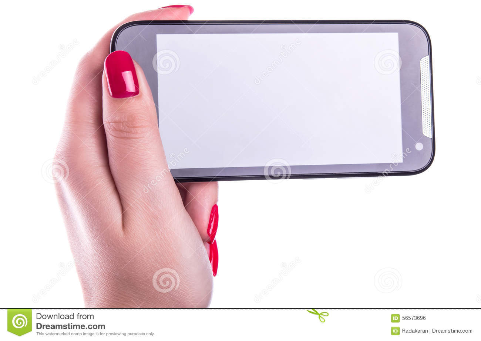 Download Τηλέφωνο κυττάρων με την οθόνη επαφής στο θηλυκό χέρι με τα γαλλικά καρφιά μανικιούρ στο λευκό Στοκ Εικόνες - εικόνα από cellphone, απομονωμένος: 56573696
