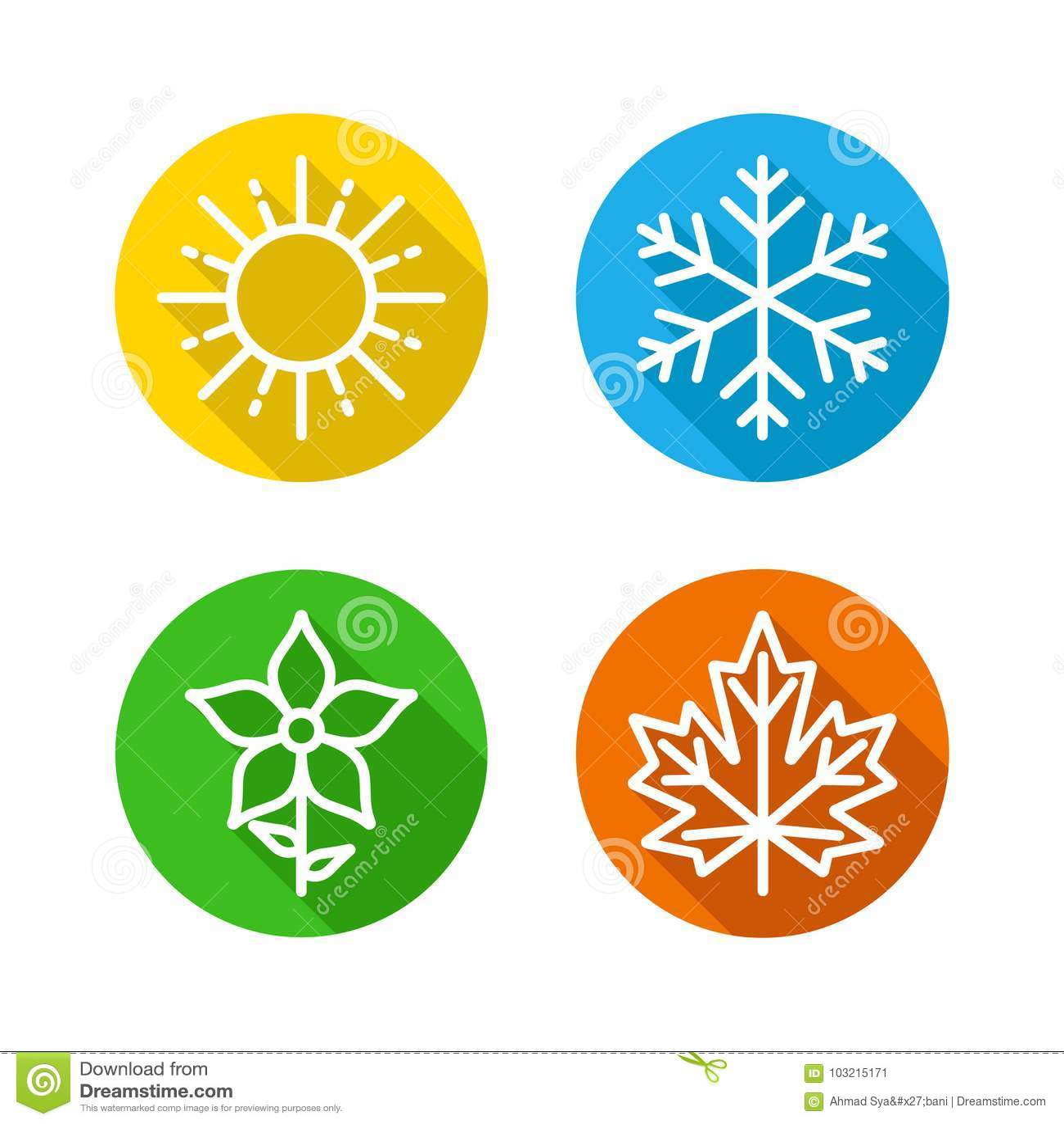 Τις εποχές καθορισμένες τα ζωηρόχρωμα εικονίδια - οι εποχές - καλοκαίρι, χειμώνας, άνοιξη και φθινόπωρο - σημάδι πρόγνωσης καιρού
