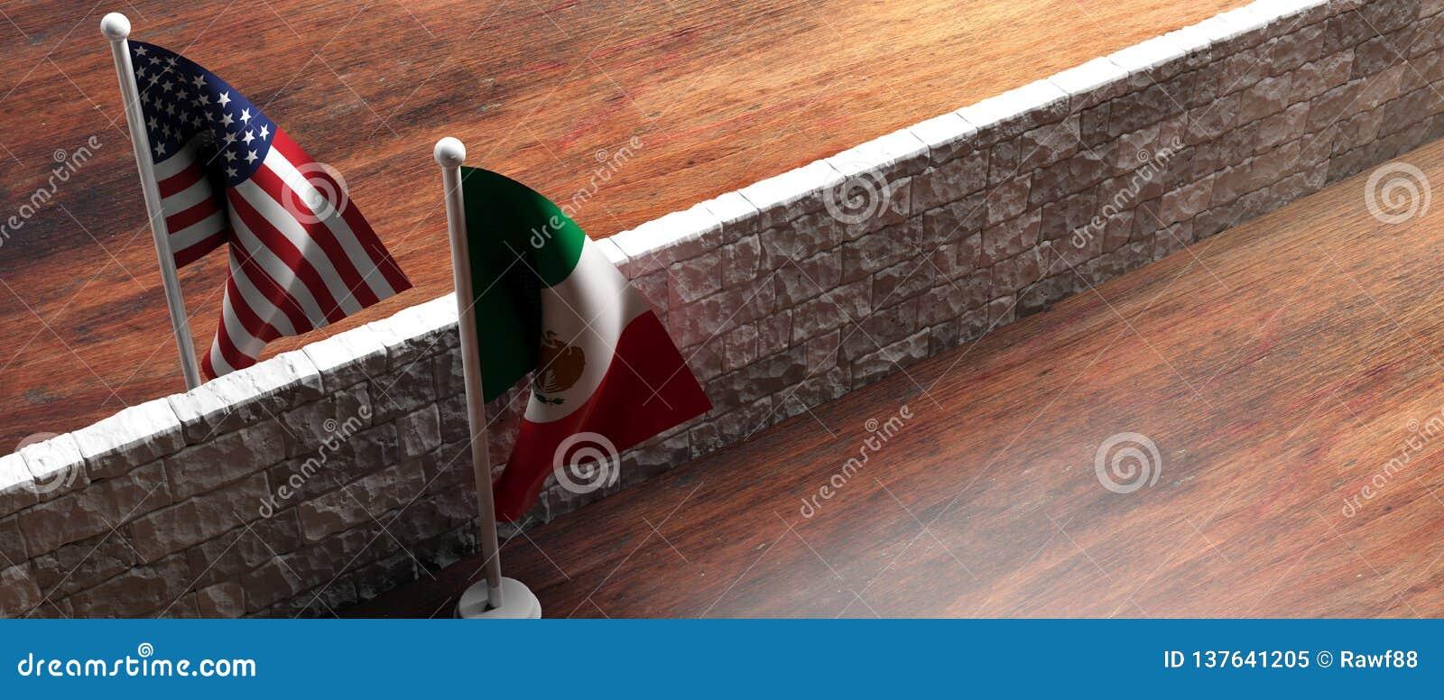 Τοίχος συνόρων μεταξύ των ΗΠΑ των σημαιών της Αμερικής και του Μεξικού τρισδιάστατη απεικόνιση