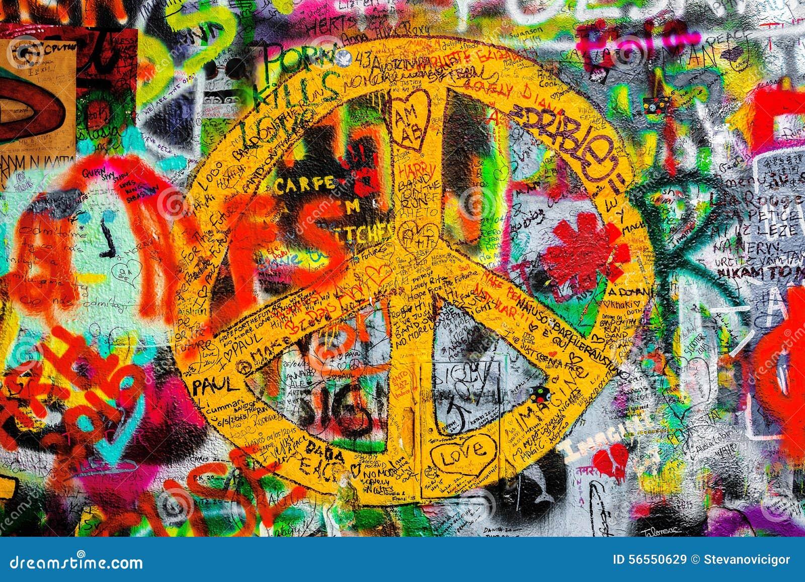 Download Τοίχος του John Lennon στην Πράγα, διάσημη επίσκεψη τουριστών Εκδοτική Στοκ Εικόνα - εικόνα από σημάδι, ανασκόπησης: 56550629
