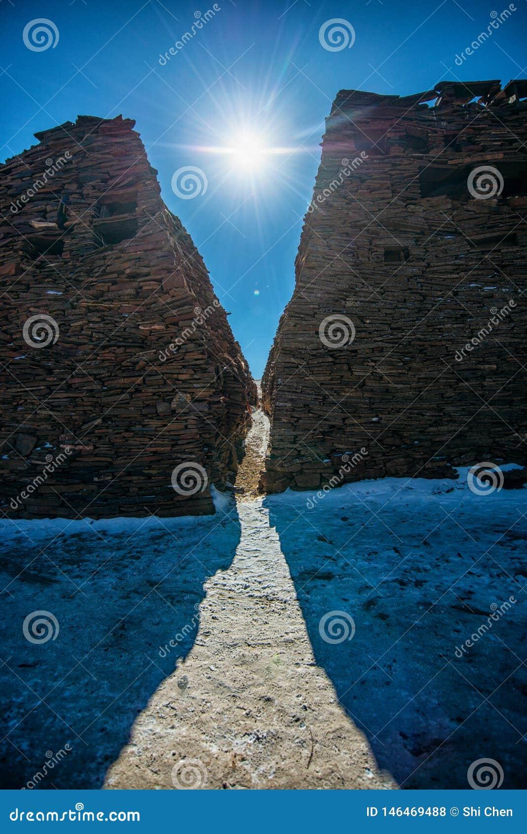 Τοίχος Mani φωτός του ήλιου χιονιού που ευλογεί το θιβετιανό βουδισμό