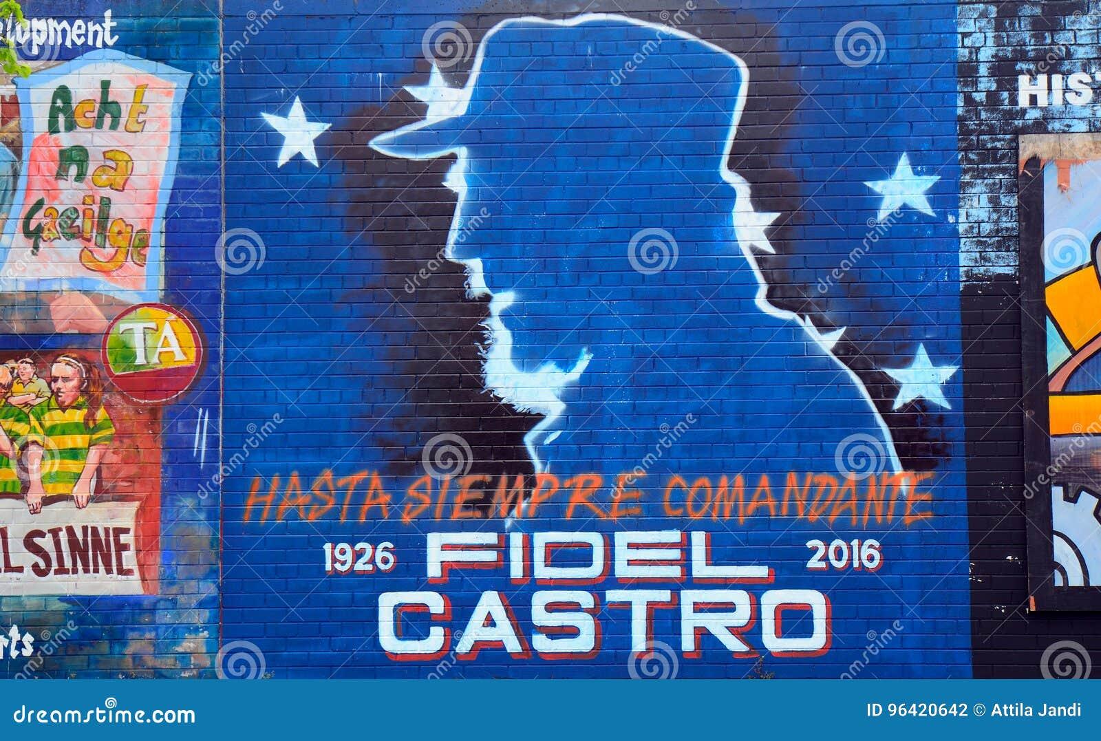 Τοιχογραφία με το Φιντέλ Κάστρο, Μπέλφαστ, Βόρεια Ιρλανδία
