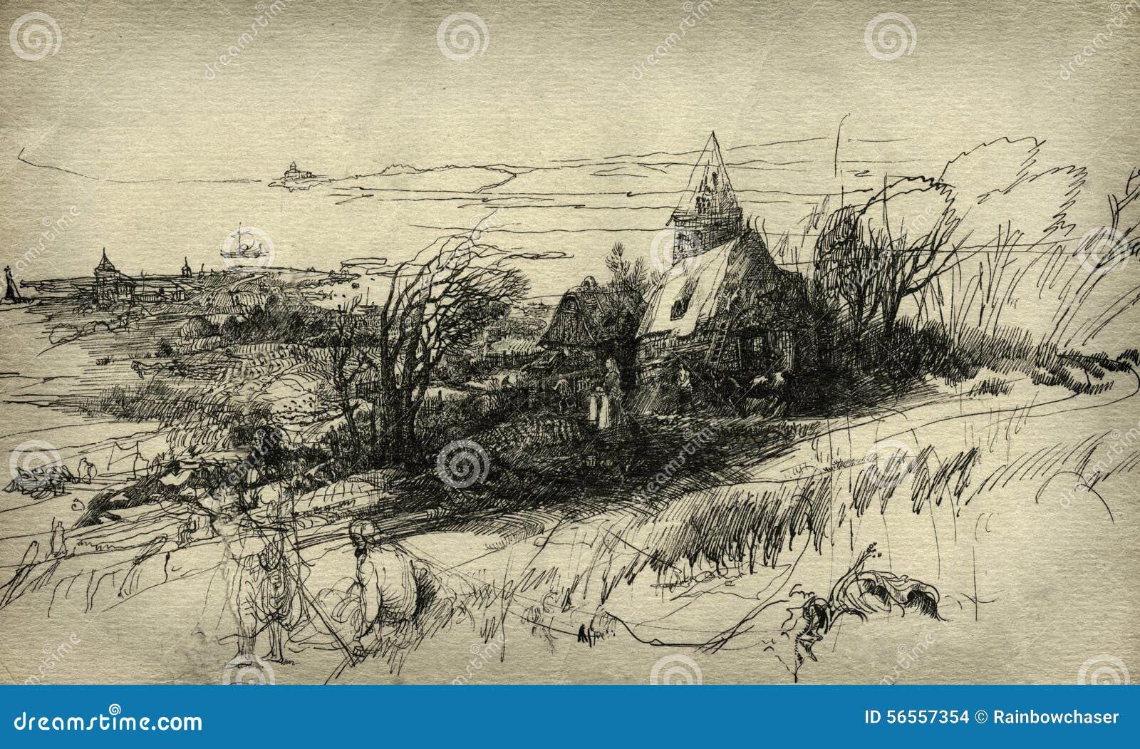 Download τοπίο αγροτικό απεικόνιση αποθεμάτων. εικονογραφία από μαύρα - 56557354