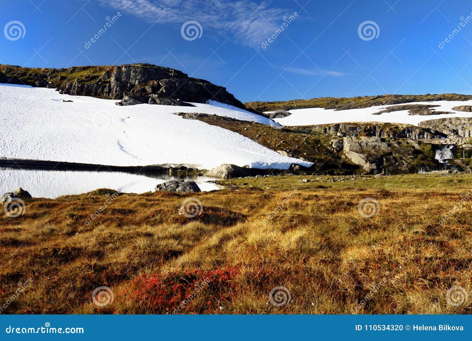 Τοπίο βουνών λιβαδιών τομέων χιονιού
