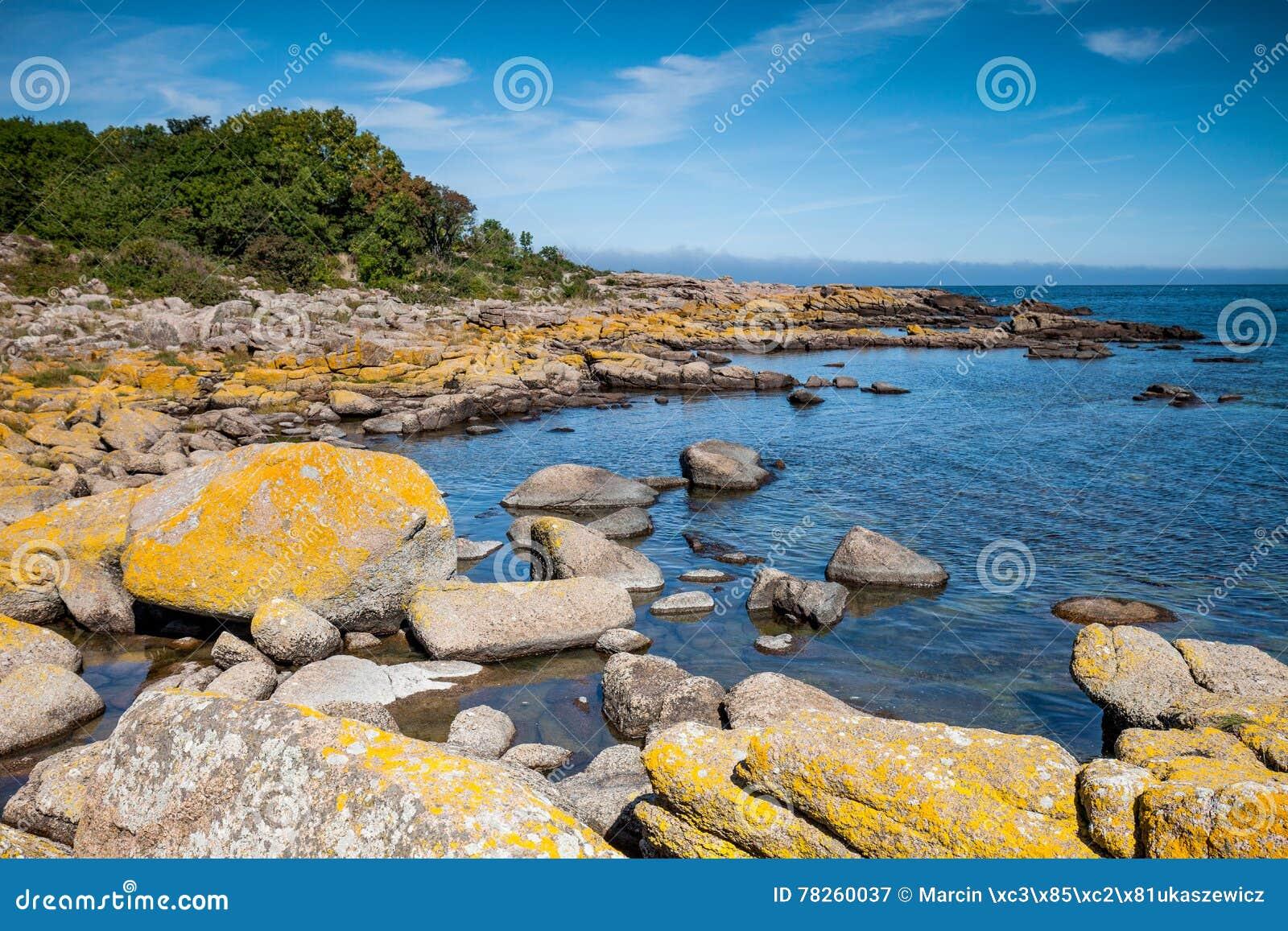 Τοπίο με την ακτή και το νερό βράχου