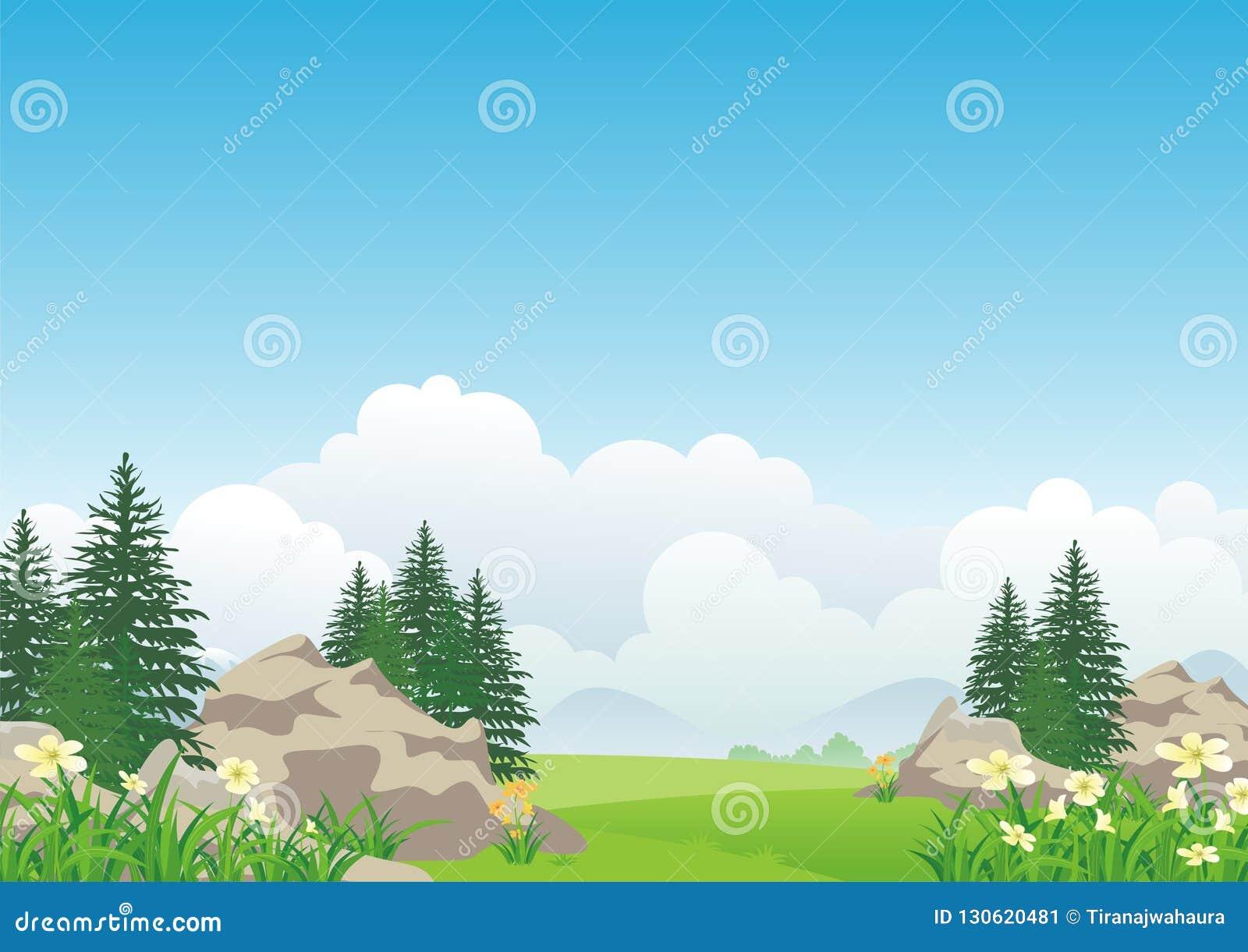 Τοπίο με το δύσκολο λόφο, το καλό και χαριτωμένο σχέδιο κινούμενων σχεδίων τοπίου