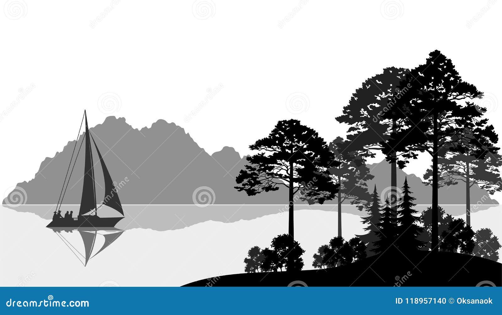 Τοπίο με το σκάφος στη λίμνη