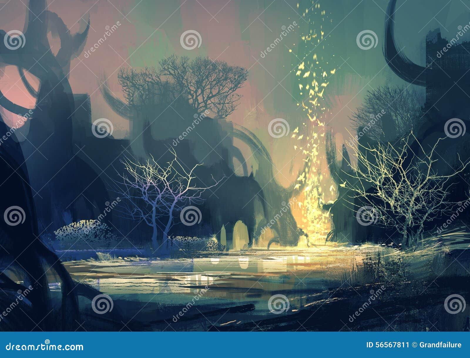 Download Τοπίο φαντασίας με μυστήρια δέντρα Απεικόνιση αποθεμάτων - εικονογραφία από φως, arroyos: 56567811