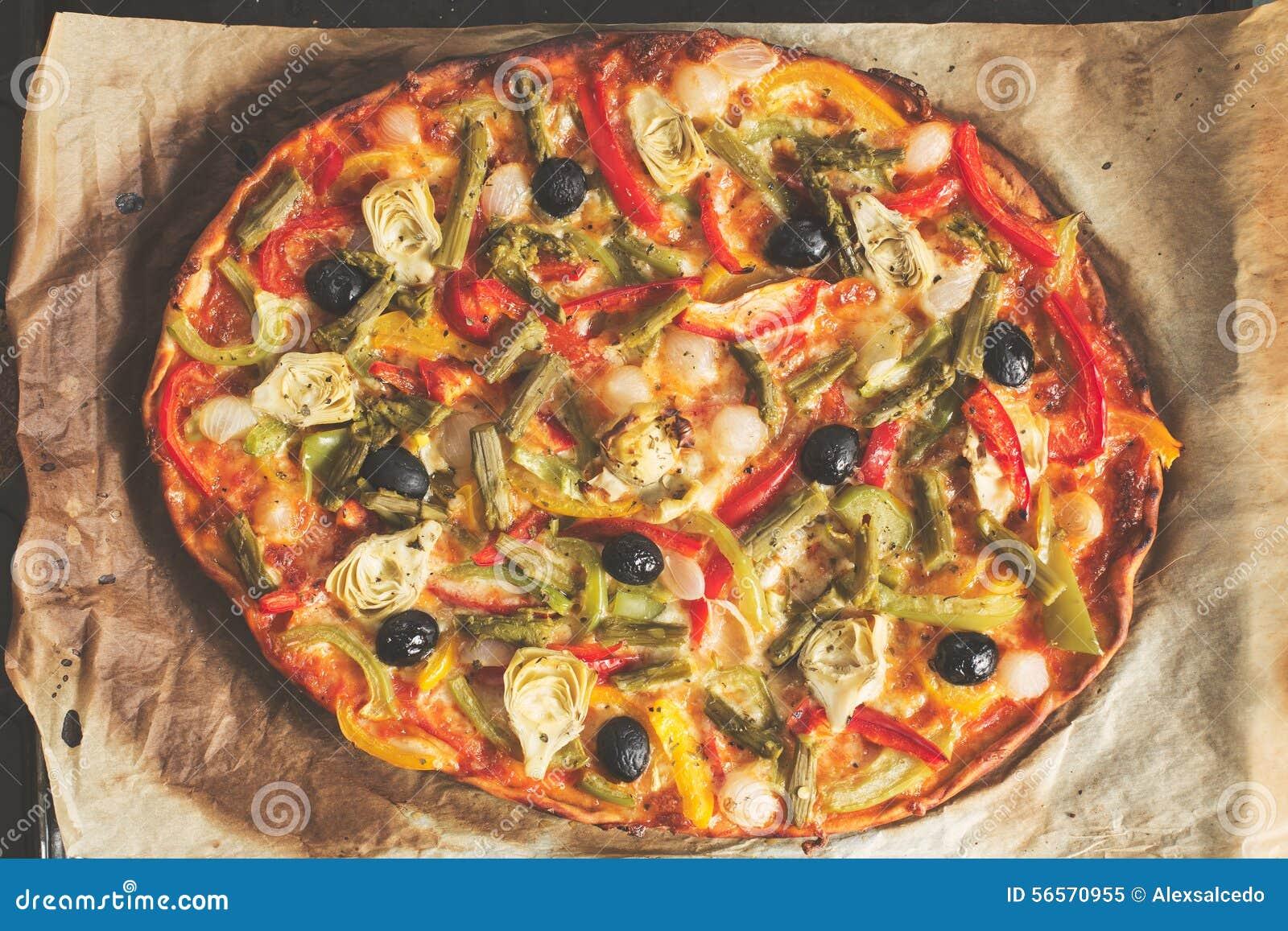 Download Τοπ άποψη πιτσών λαχανικών στοκ εικόνα. εικόνα από υγιής - 56570955