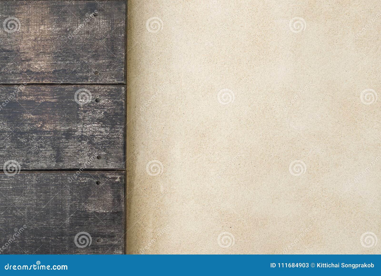 Τοπ ξύλινο και πάτωμα τσιμέντου τοποθετημένο σε στρώματα teakwook δάσος σύστασης ανασκόπησης πάτωμα