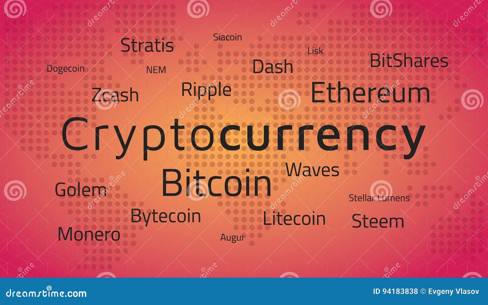 Τοπ ονόματα Cryptocurrency και παγκόσμιος χάρτης Διάνυσμα Editable EPS10