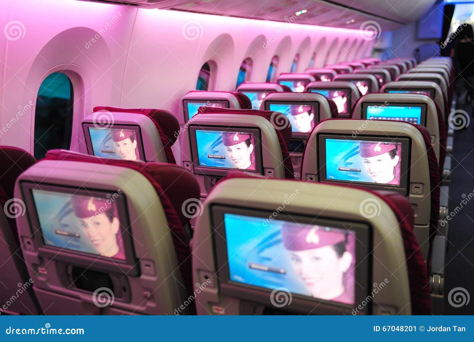 Τουριστικής θέσης εν πτήσει σύστημα ψυχαγωγίας του Boeing 787-8 Dreamliner των εναέριων διαδρόμων του Κατάρ (IFE) στη Σιγκαπούρη