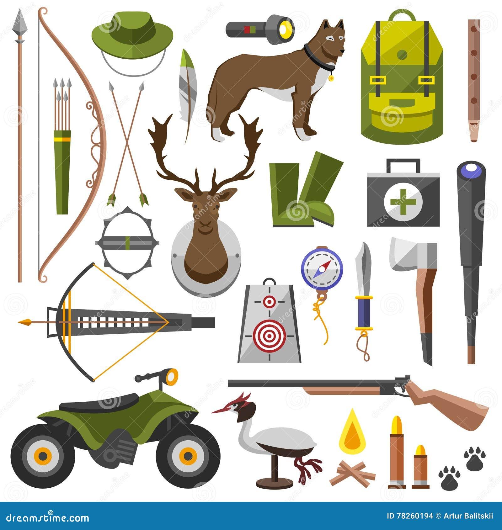 Τουφέκι εξαρτήσεων εξοπλισμού κυνηγιού, μαχαίρι, καπέλο, κοστούμι, κυνηγετικό όπλο, μπότες, δόλωμα, προστασία, αντιστοιχίες, μια