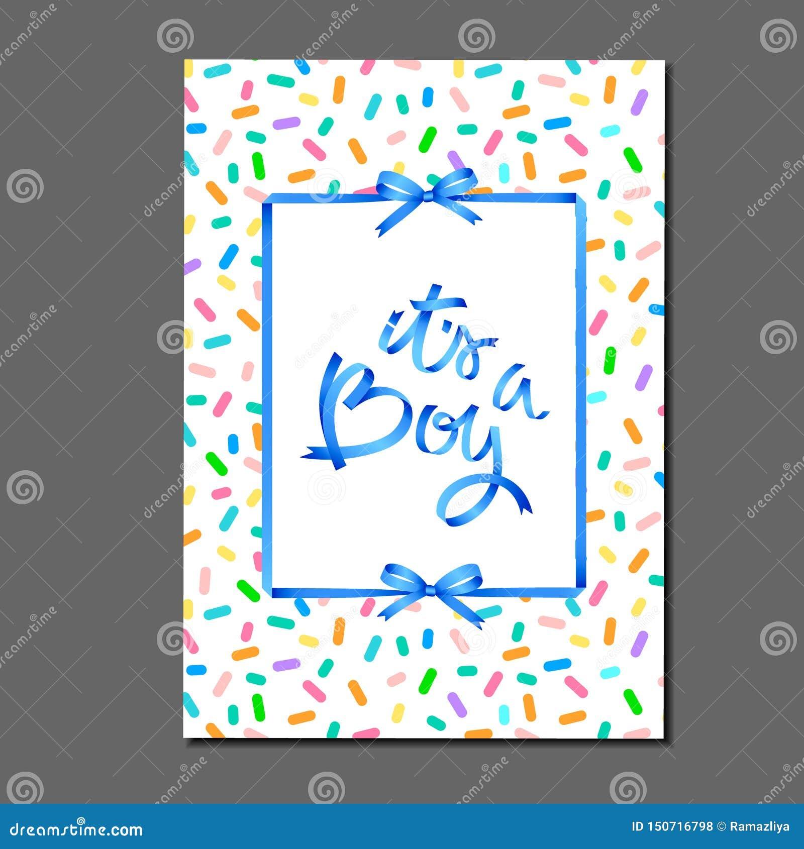 Του ένα αγόρι η εγγραφή στο κέικ γενεθλίων ψεκάζει το σχέδιο Κορδέλλες και τόξα Ευχετήρια κάρτα, πρόσκληση, αφίσα, ετικέτα, αυτοκ