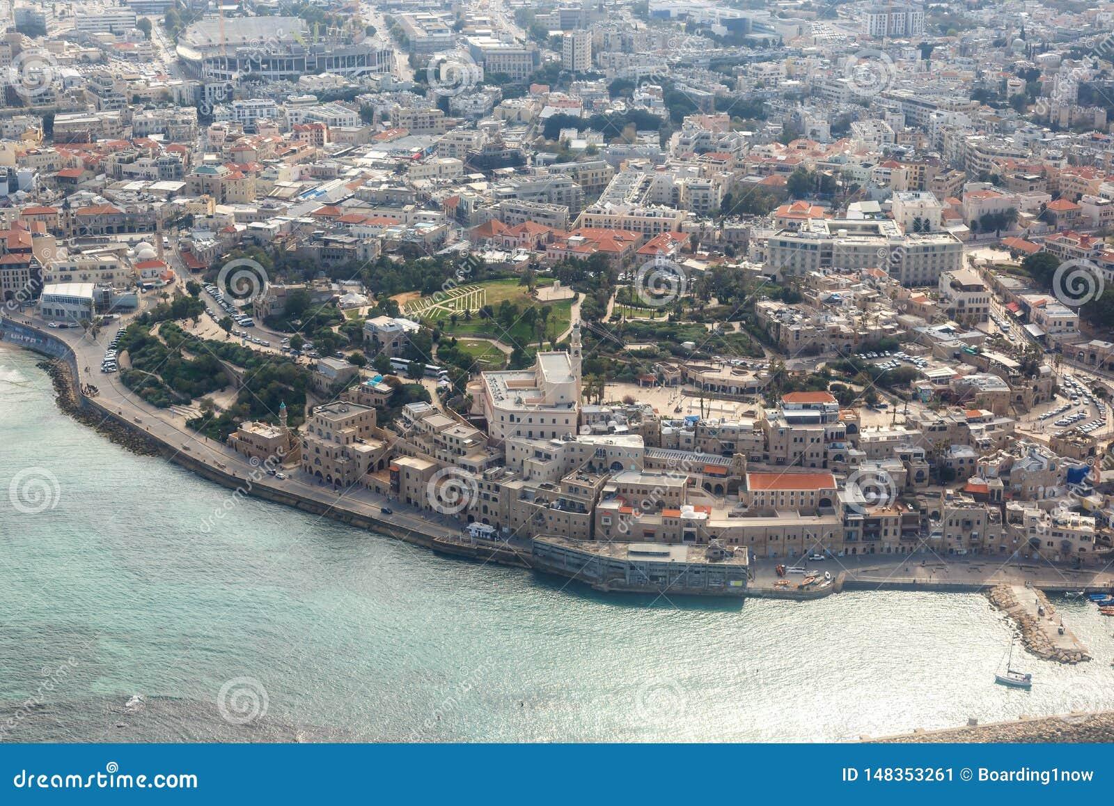 Του Τελ Αβίβ Jaffa παλαιά πόλεων κωμοπόλεων θάλασσα άποψης του Ισραήλ εναέρια