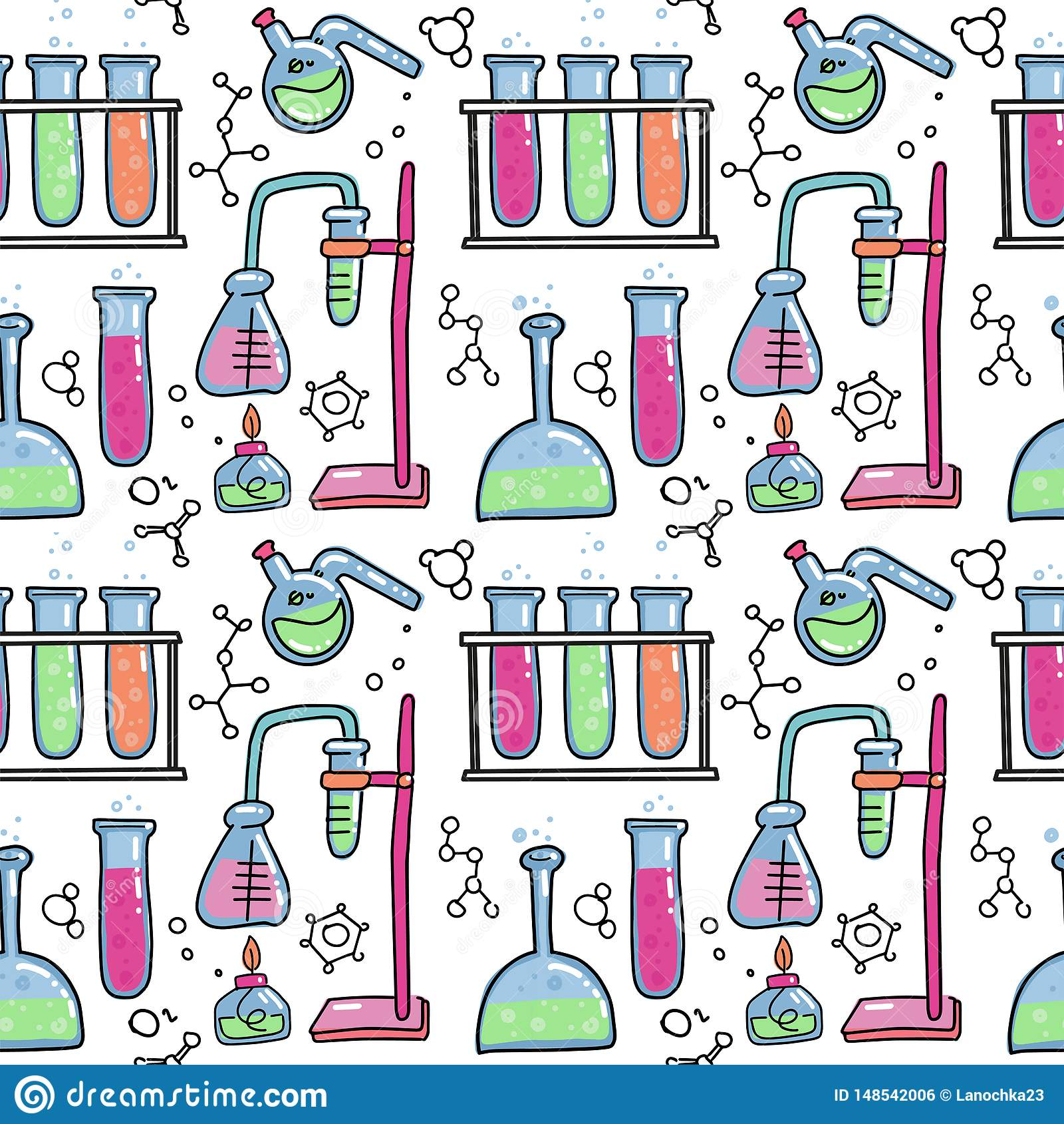 Το άνευ ραφής σχέδιο του διακοσμητικού χρώματος συρμένου χέρι χημικού εξοπλισμού πειράματος εργαστηρίων επιστημονικού απομόνωσε τ