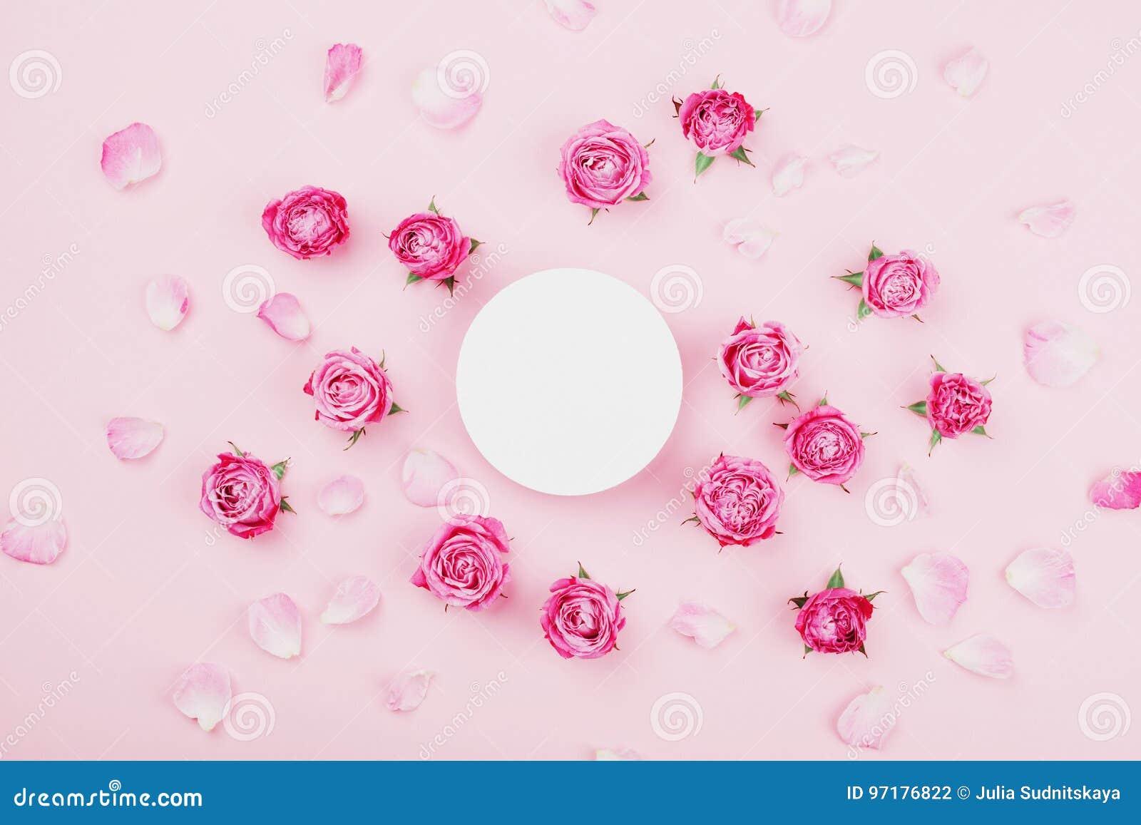 Το άσπρο στρογγυλό κενό, ρόδινο αυξήθηκε λουλούδια και πέταλα για τη SPA ή το γαμήλιο πρότυπο στη τοπ άποψη υποβάθρου κρητιδογραφ