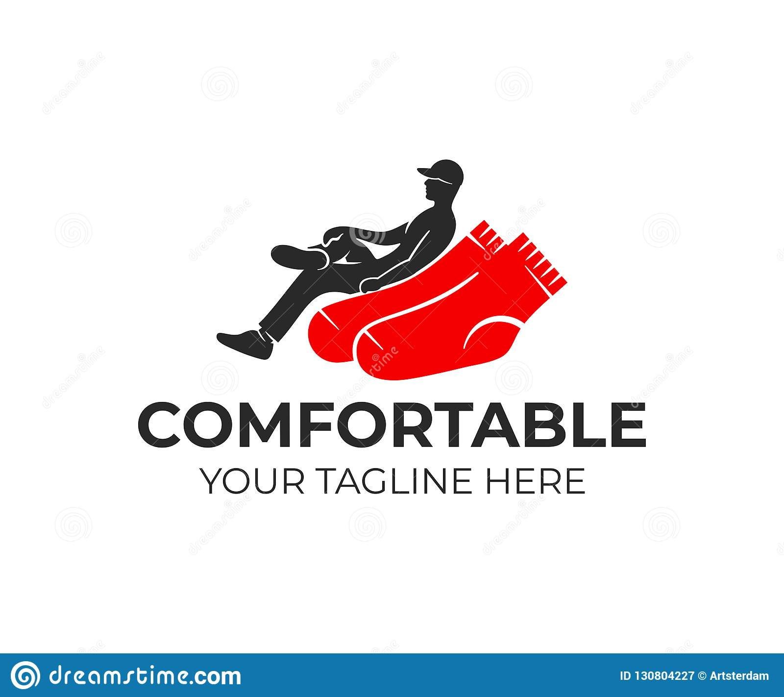 Το άτομο διασχίζει τα πόδια τους καθμένος στις κάλτσες όπως στην πολυθρόνα, σχέδιο λογότυπων Βιομηχανία, βιομηχανικός, ενδύματα,