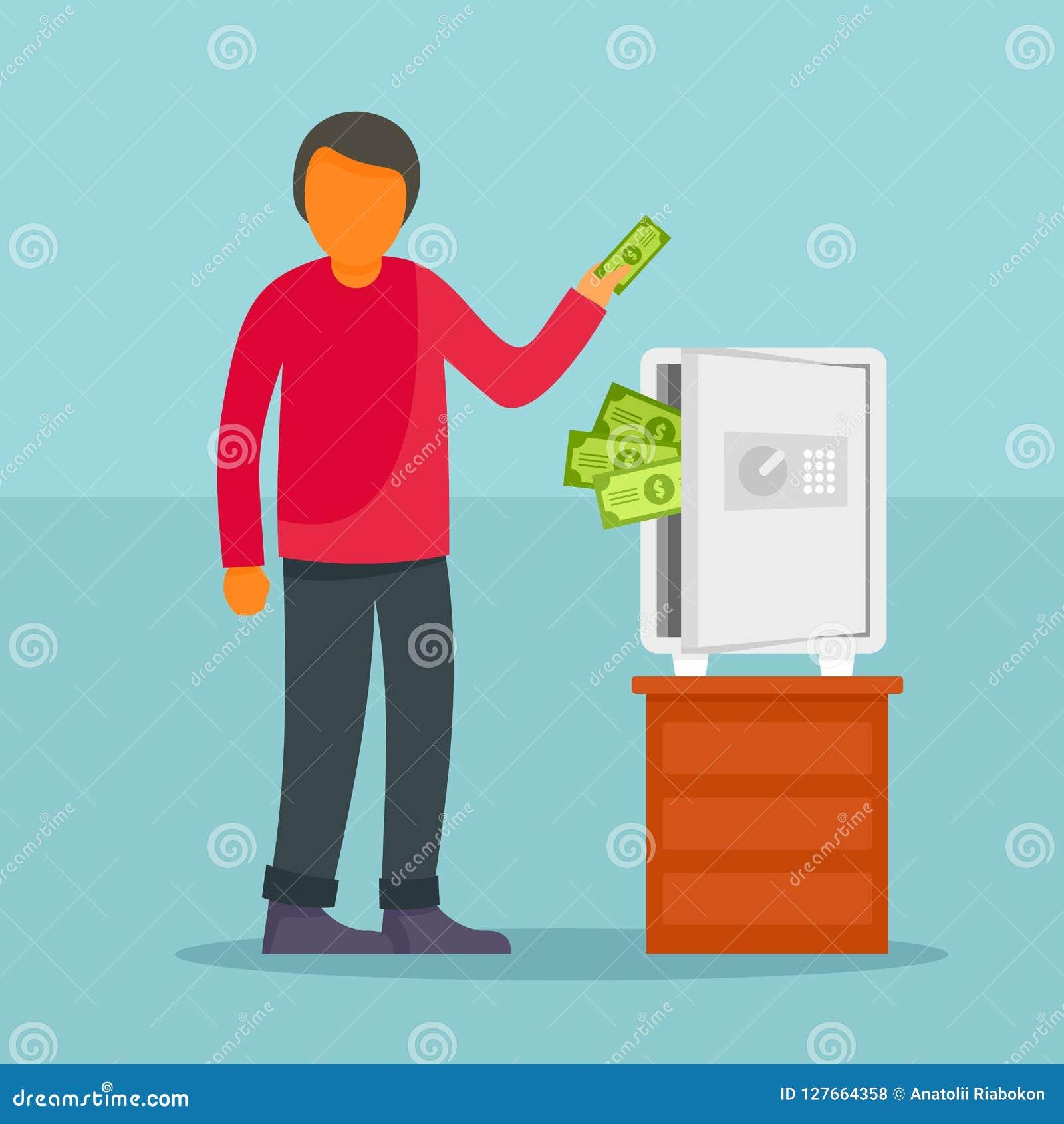 Το άτομο παίρνει τα χρήματα από το ασφαλές υπόβαθρο έννοιας, επίπεδο ύφος