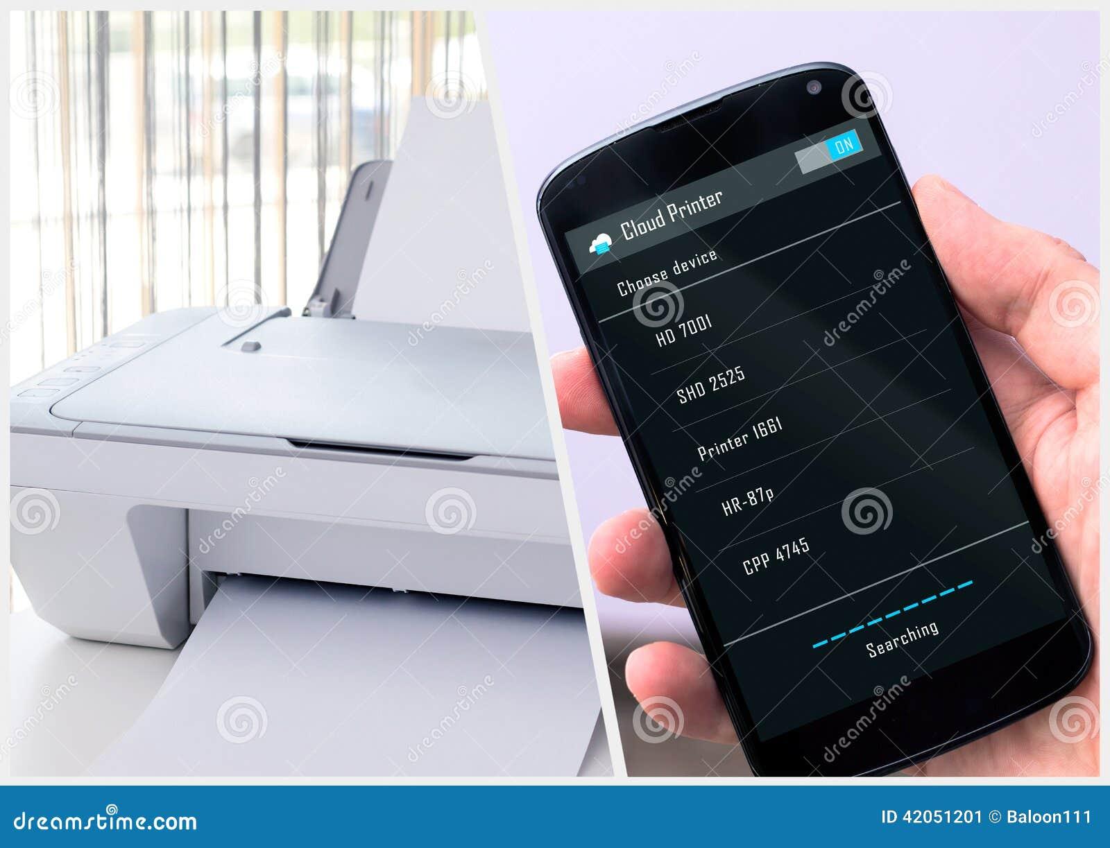 Το άτομο συνδέει με τον ασύρματο εκτυπωτή