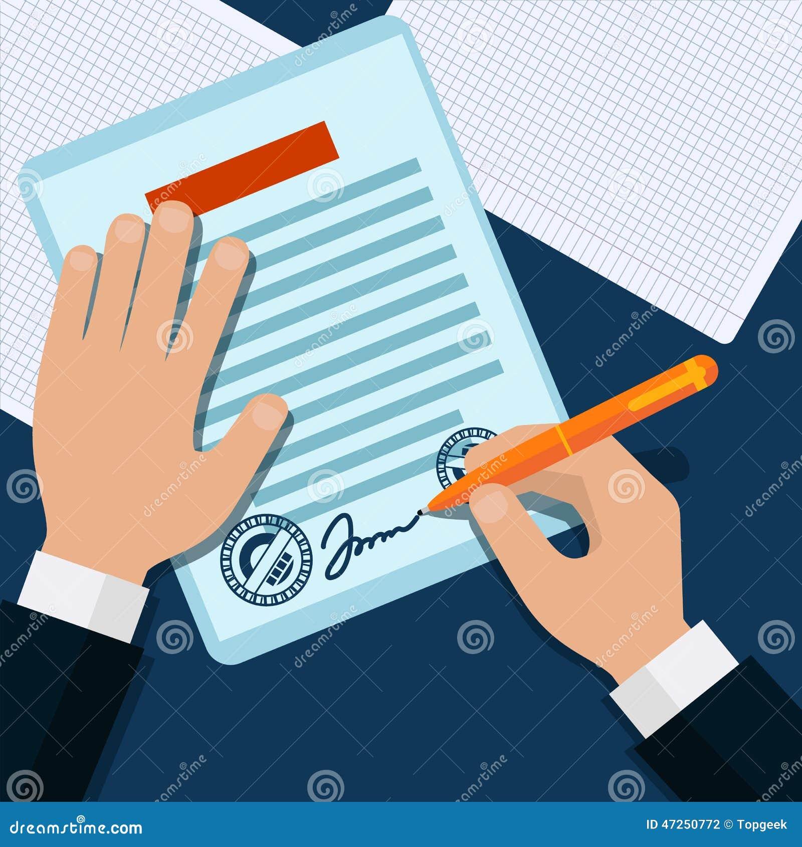 Το άτομο υπογράφει σφραγισμένη την έγγραφο λαβή