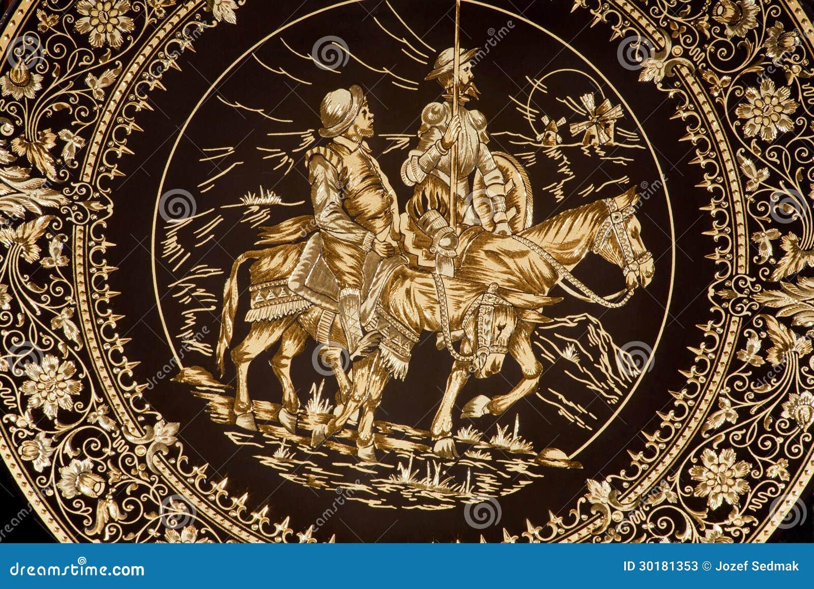 Τολέδο - πιάτο με Don Δον Κιχώτης και Sancho Panza.