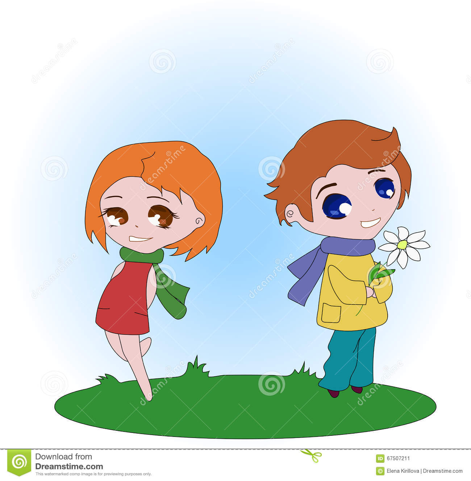 Το αγόρι δίνει τα λουλούδια στο κορίτσι