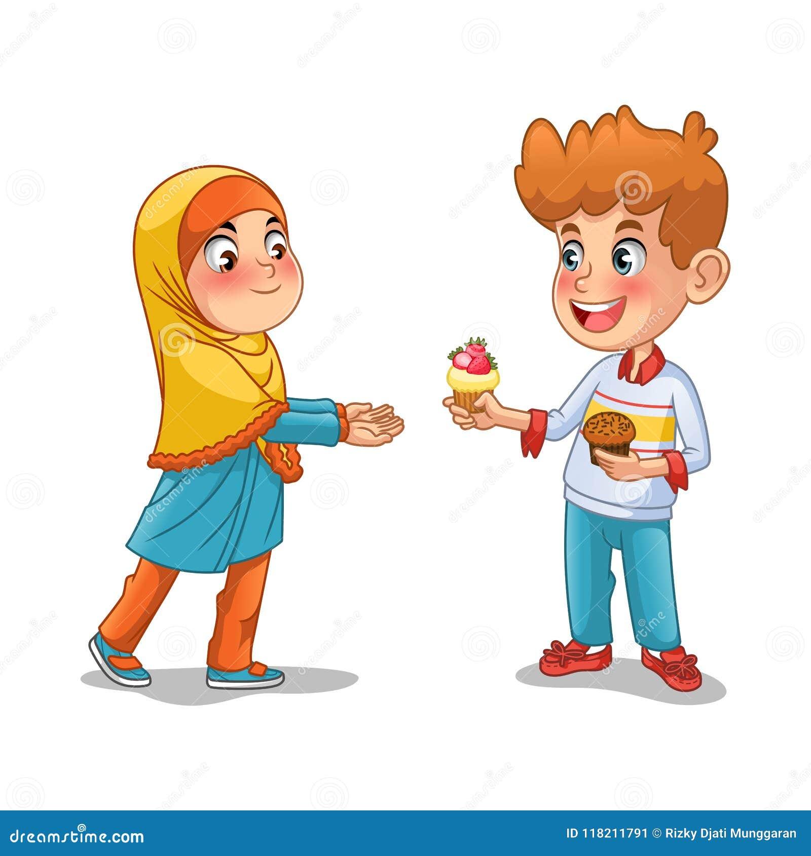 Το αγόρι δίνει το Cupcake στο μουσουλμανικό κορίτσι
